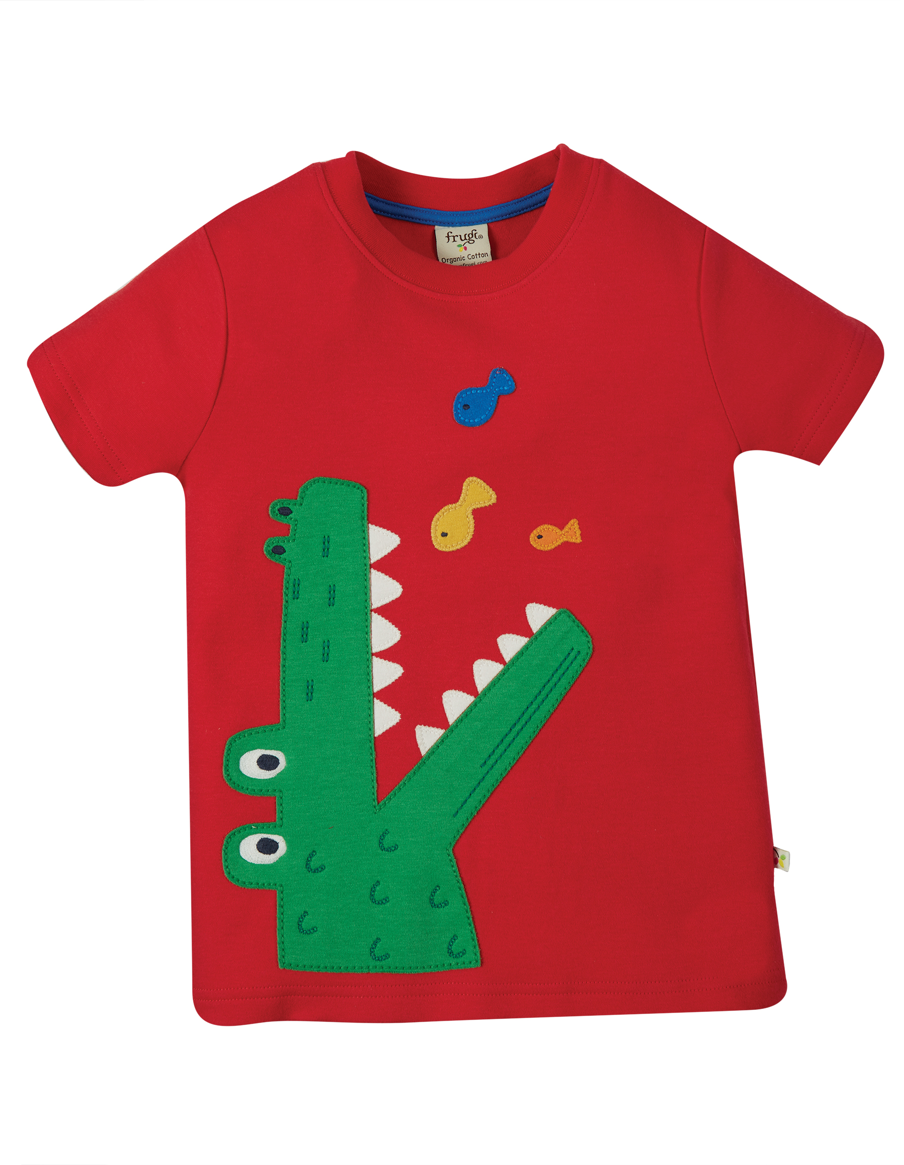 Frugi Carsen Applique T-Shirt, True Red Croc