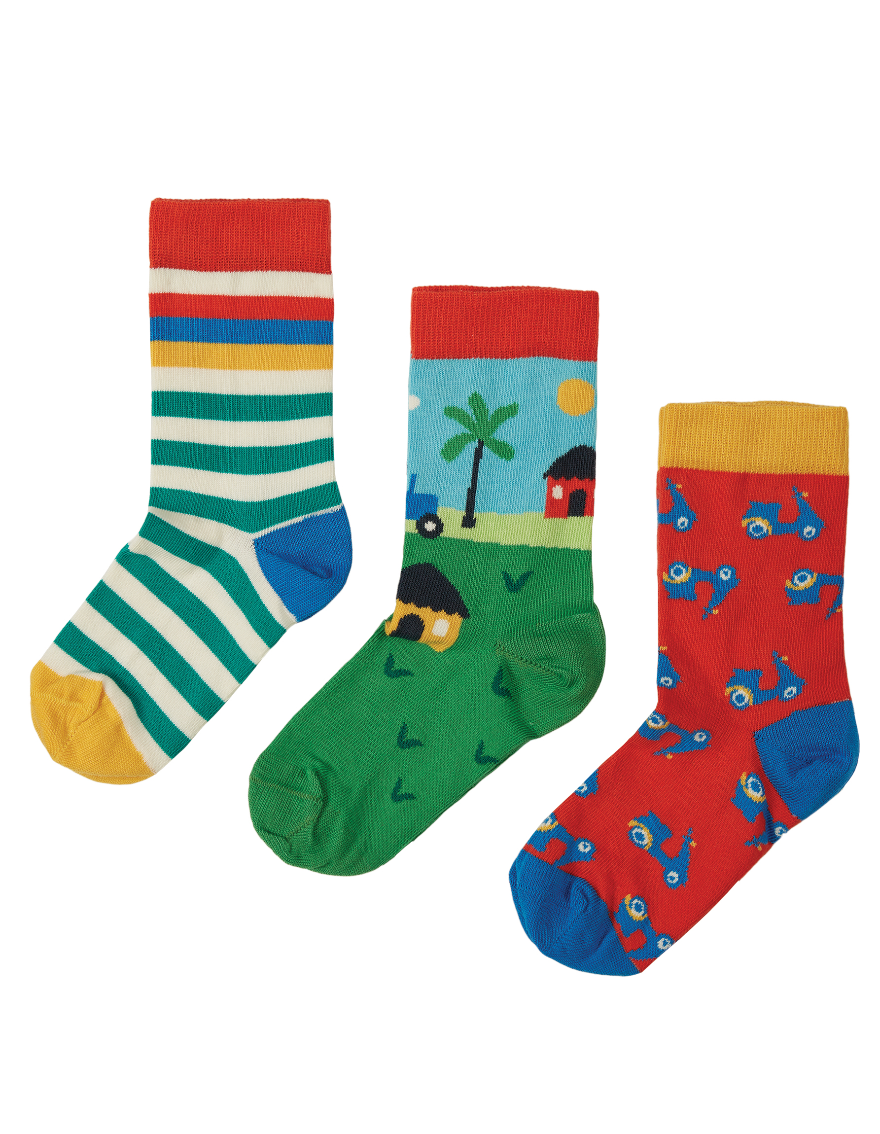 Frugi Rock My Socks 3 Pack, Tractor