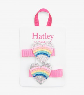 Hatley Rainbow Hearts Glitter Hair Clip