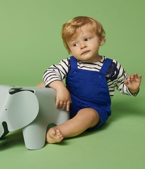 Petit Bateau Baby Boys Fancy Serge Dungaree Shorts