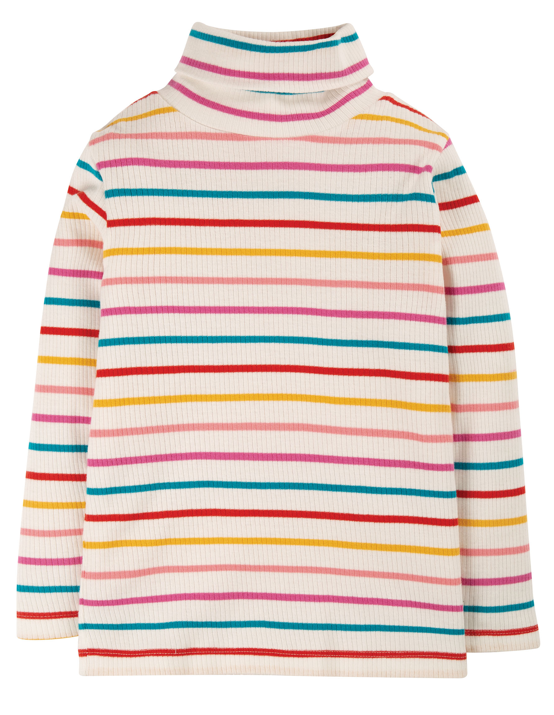 Frugi Ava Stripe Rollneck Ginger Rainbow