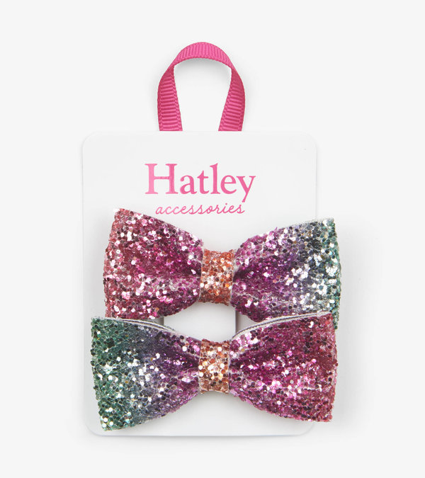 Hatley Prismatic Bows Glitter Hair Clips