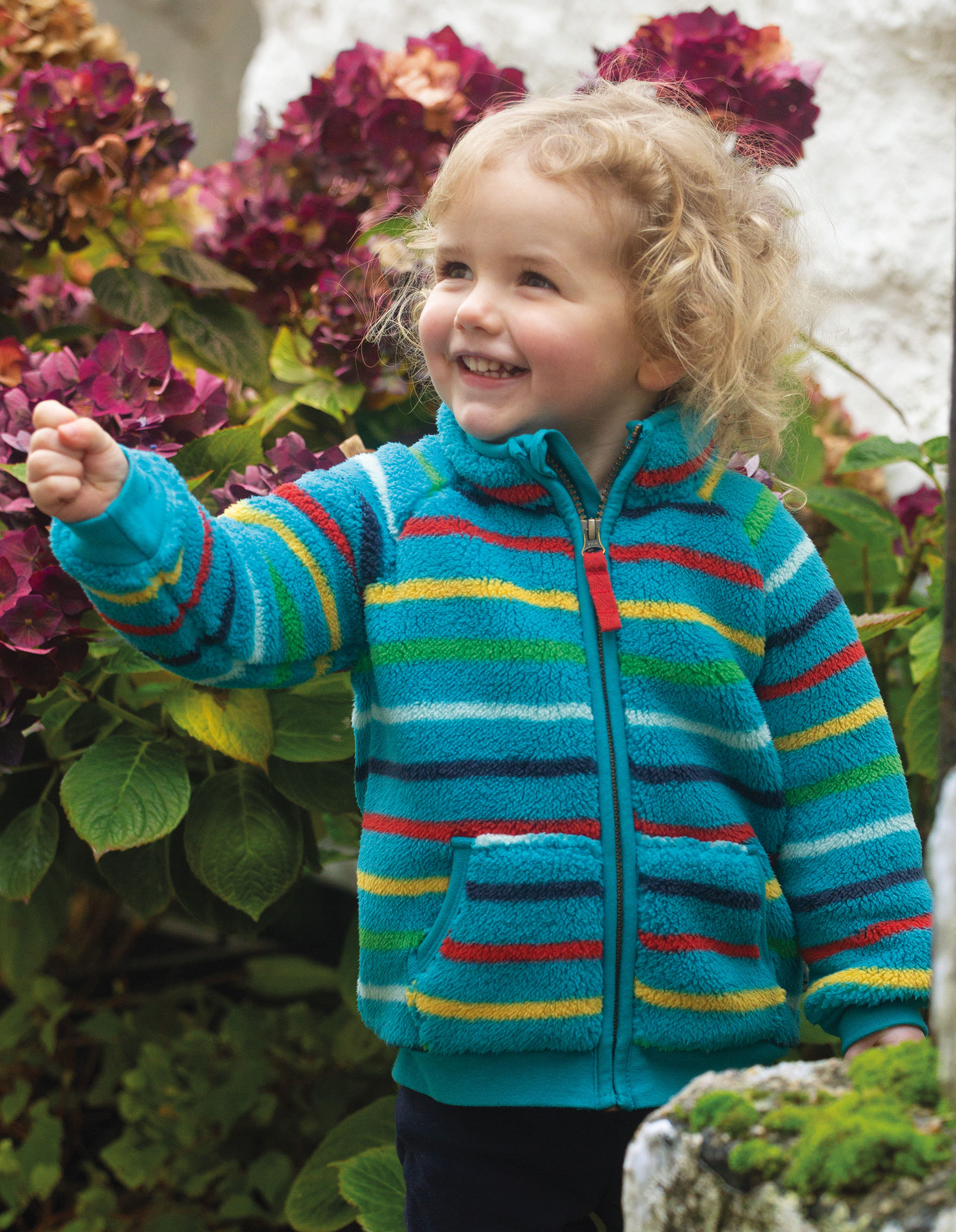 Frugi Ted Fleece Zip-up, Tobemory Rainbow Stripe