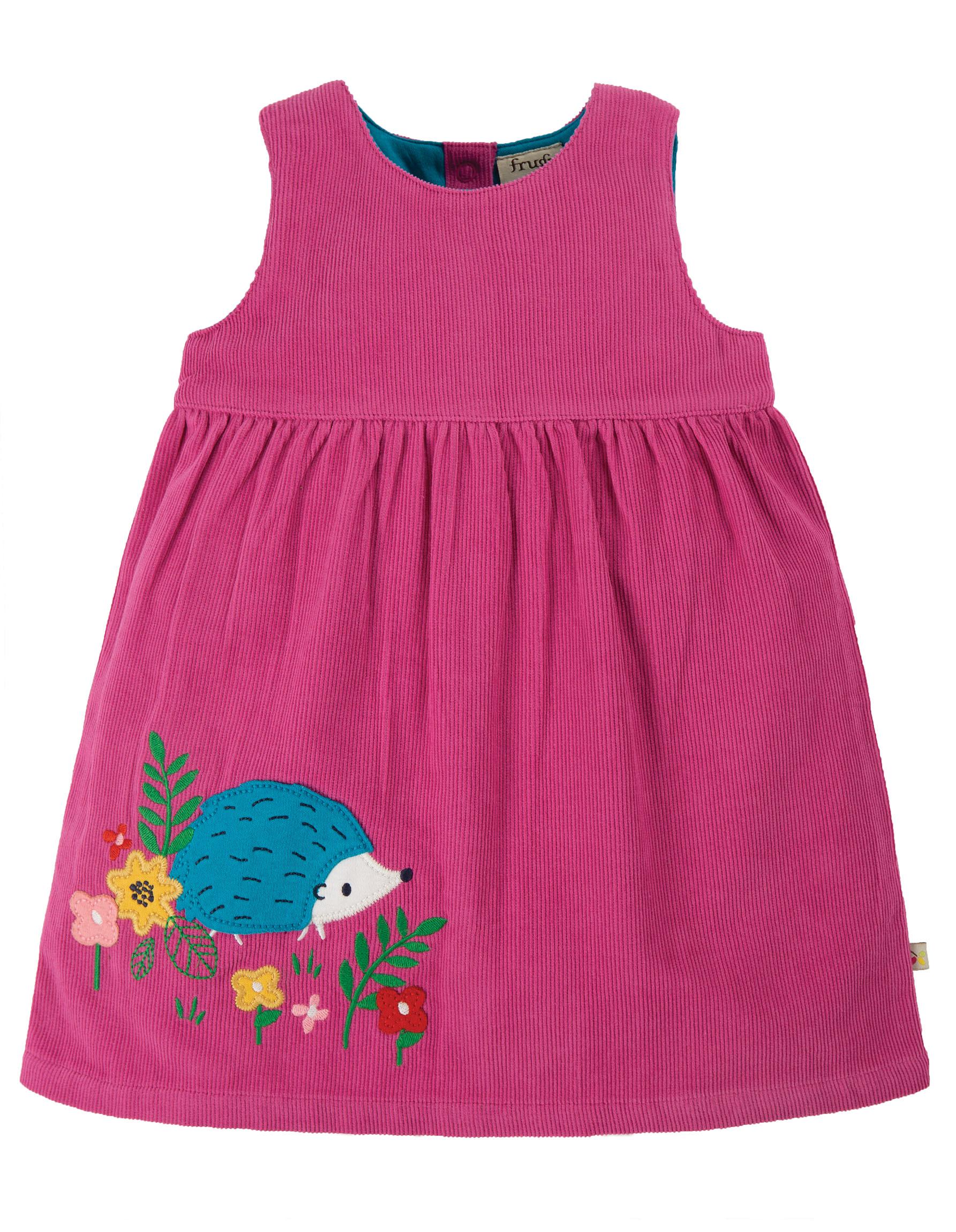 Frugi Lily Cord Dress, Foxglove/Hedgehog