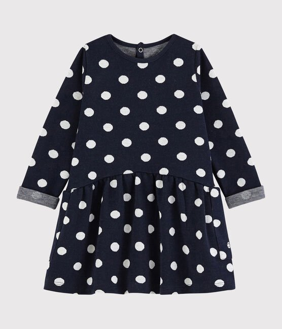 Petit Bateau Baby Navy Spotted Dress