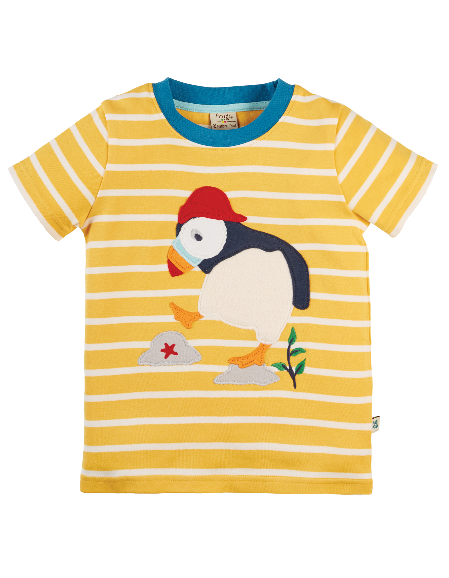 Frugi The National Trust Sid Applique T-Shirt, Puffin