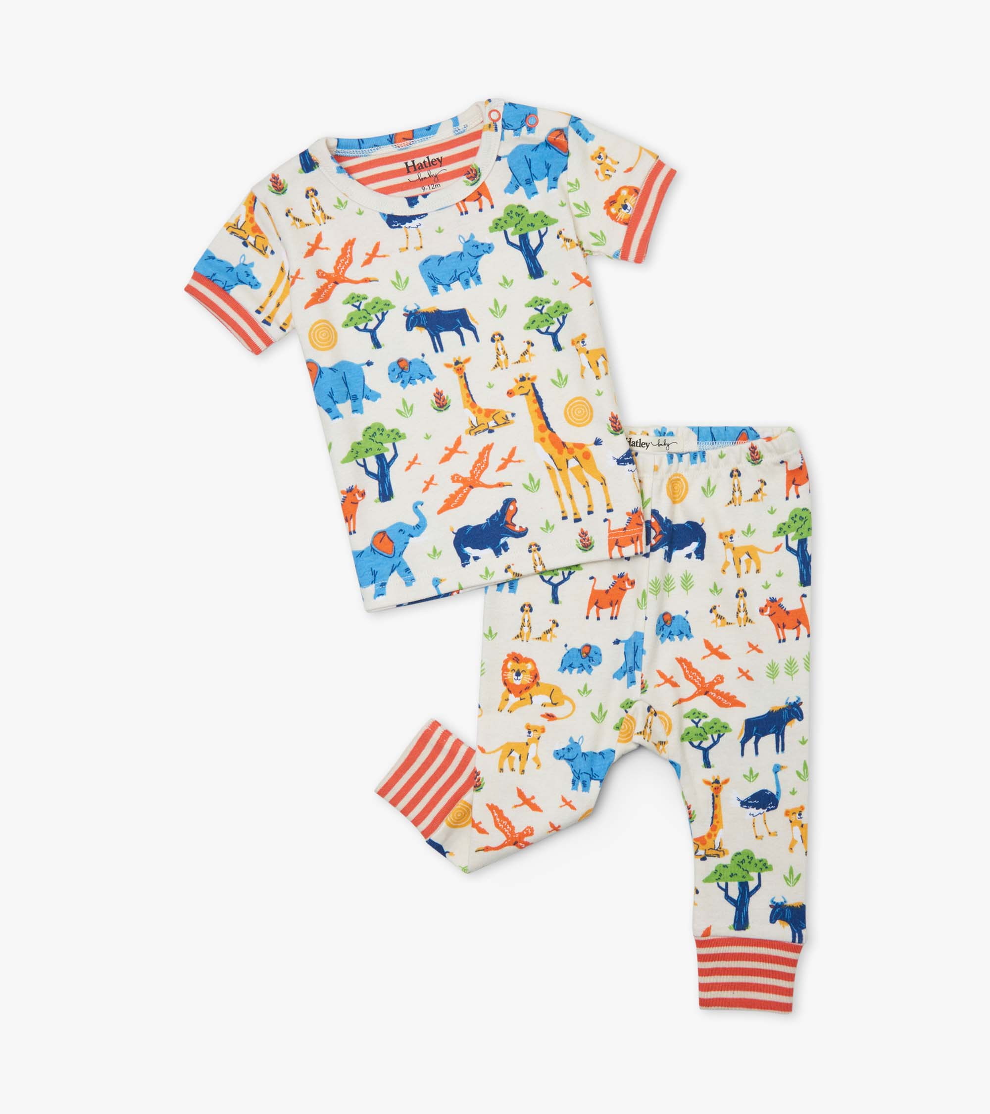 Hatley Wild Safari Organic Cotton Baby Short Sleeve Pyjama Set
