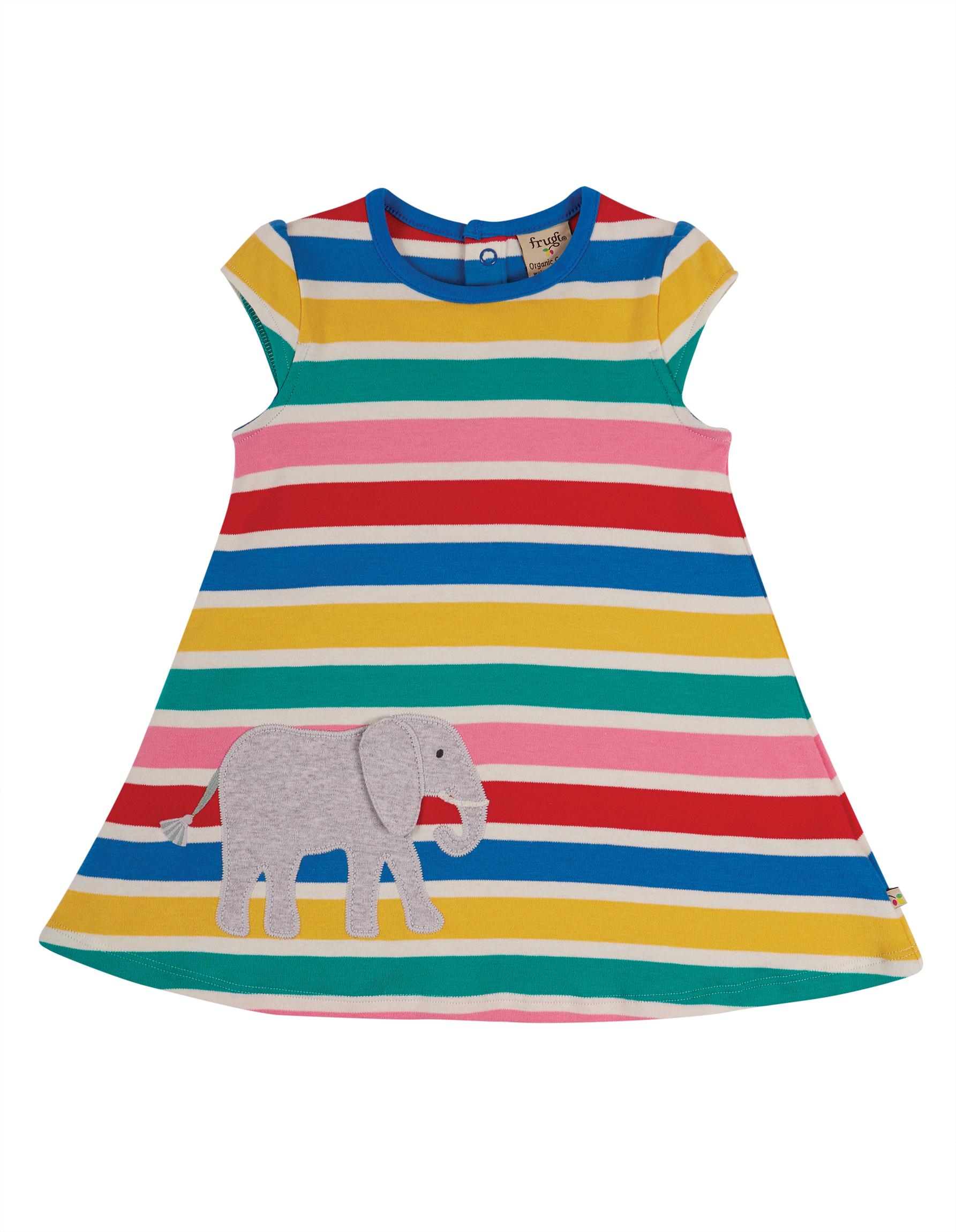 Frugi Gianna Dress, Rainbow Multistripe/Elephant