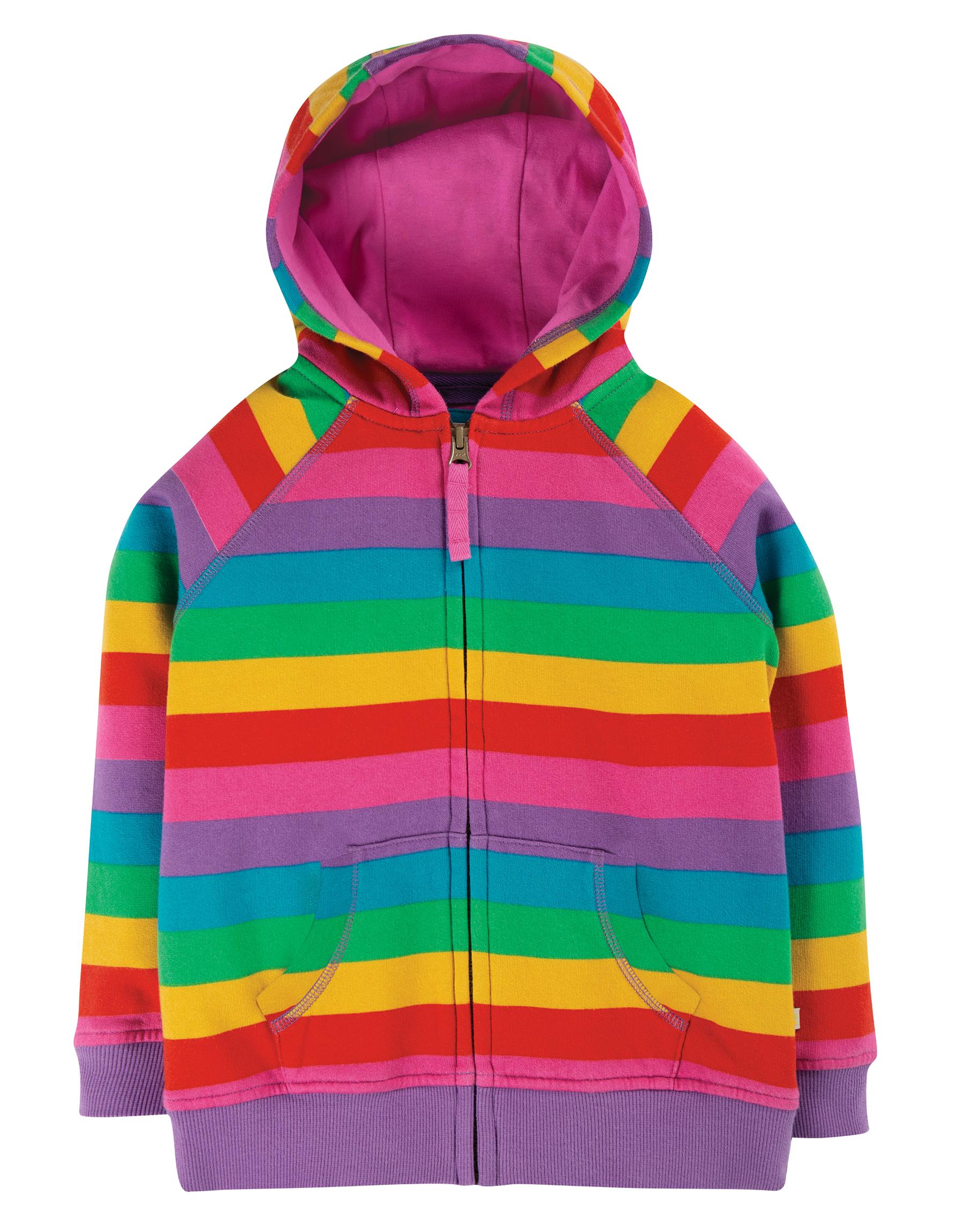 Frugi Dorothy Hoody Foxglove Rainbow Stripe