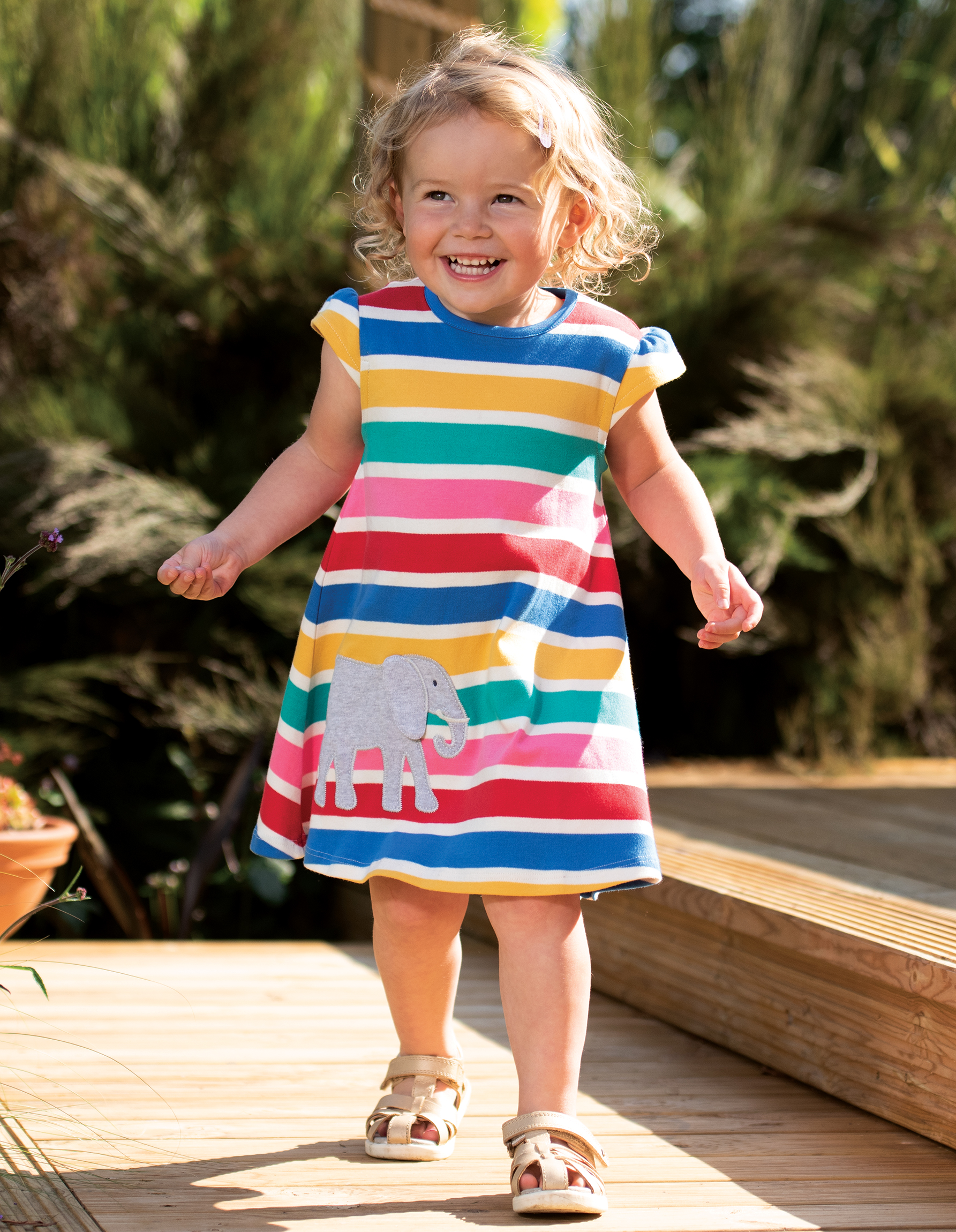 Frugi Gianna Dress, Rainbow Multistripe/Elephant