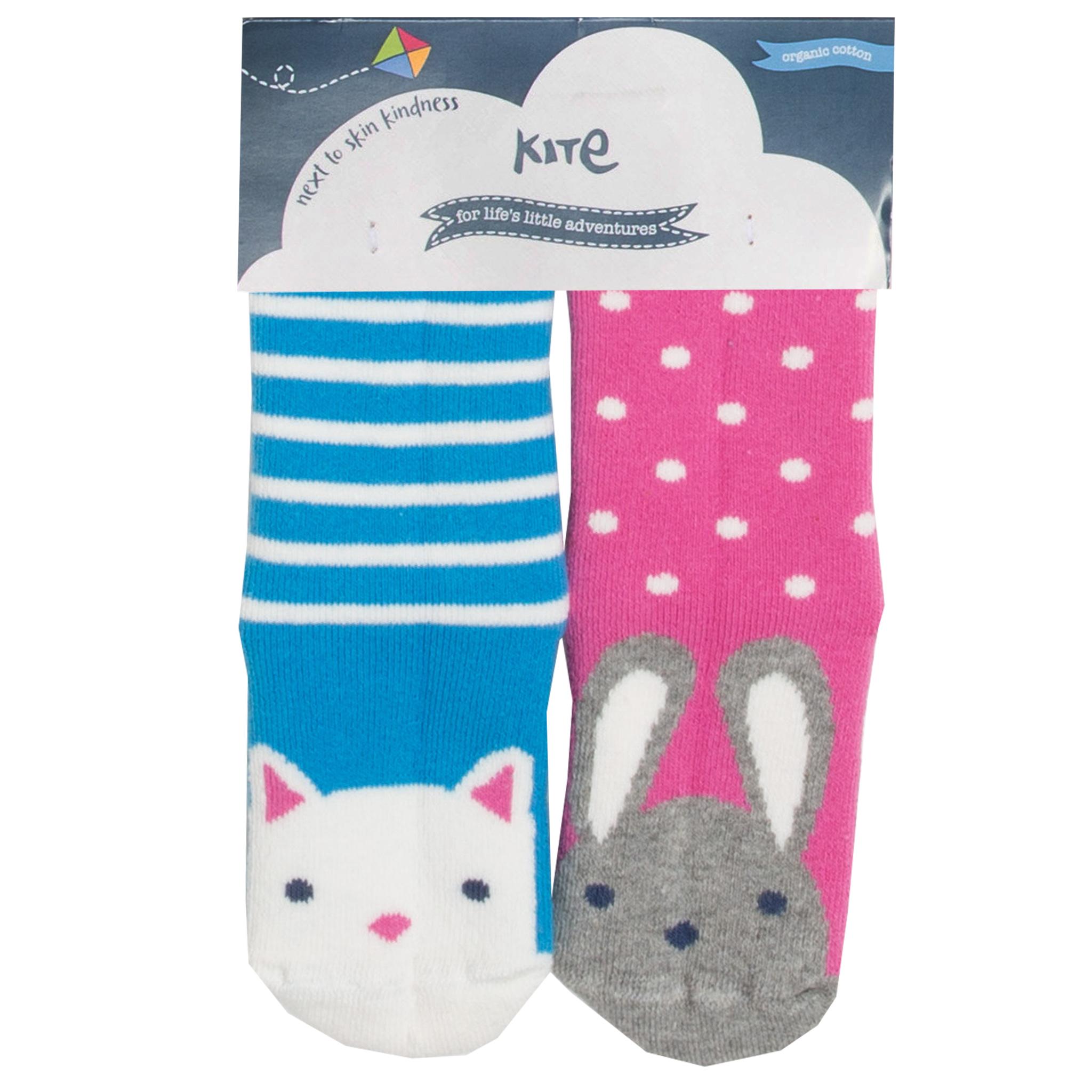 Kite 2 pk Grippy Socks, Bunny/Cat