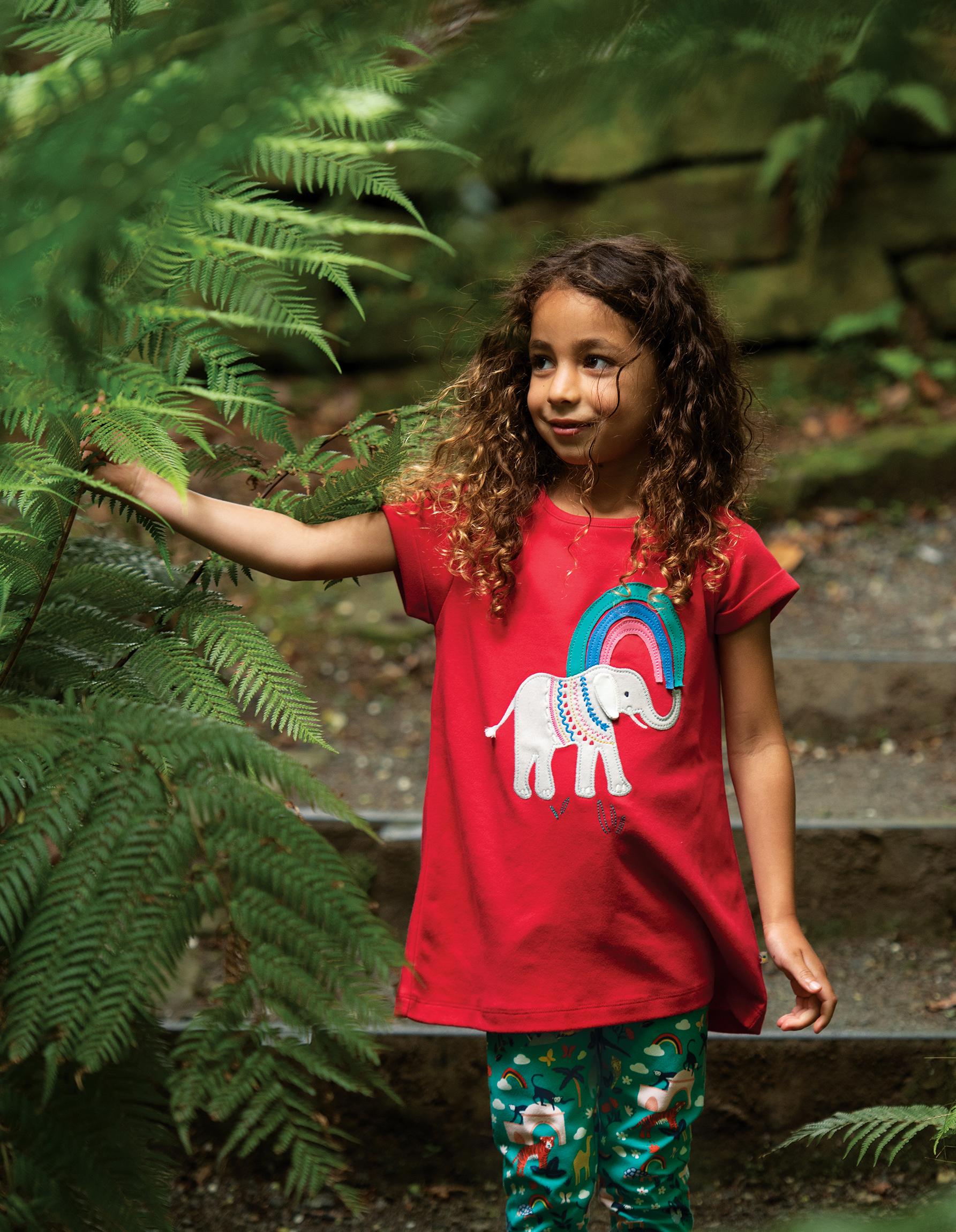 Frugi Sophie Applique Top, True Red Elephant