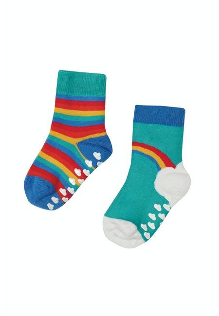 Frugi Grippy Socks, Pacific Aqua Rainbow Multipack