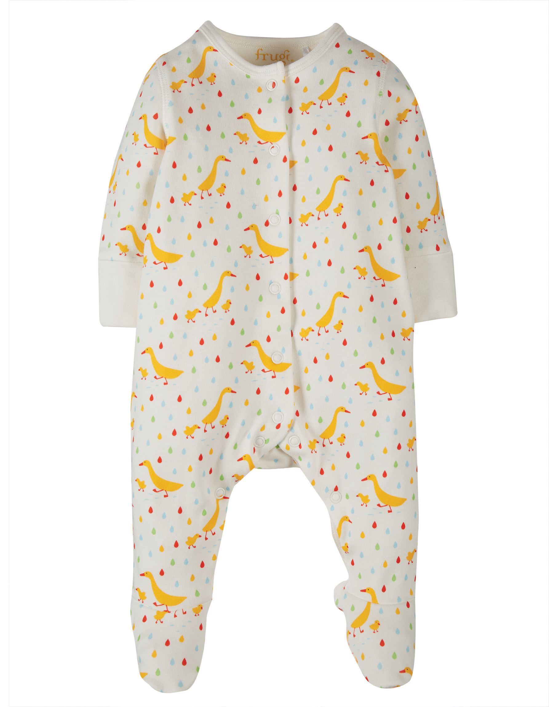 Frugi Lovely Little Babygrow, Soft White Runner Ducks