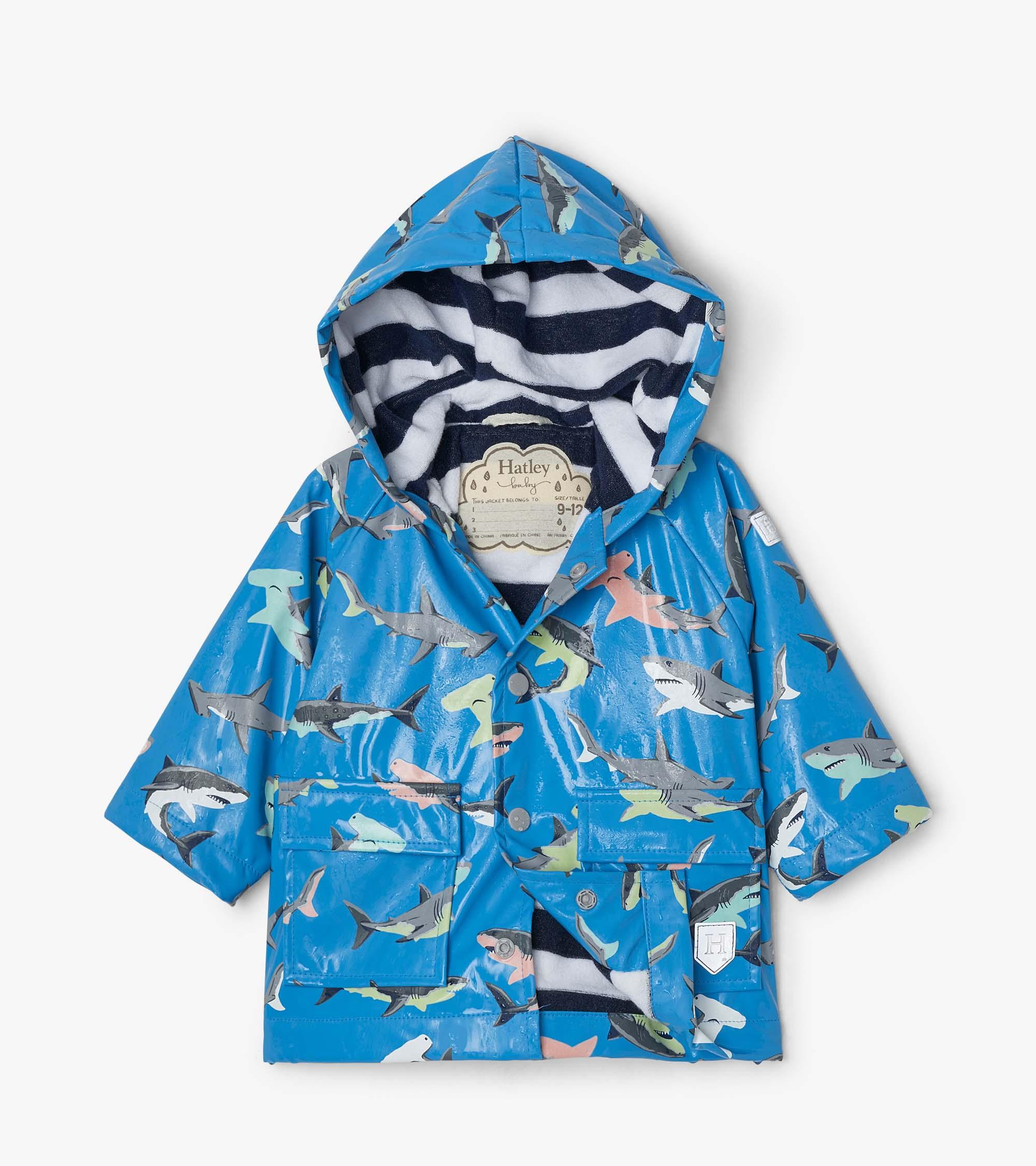 Hatley Deep-Sea Sharks Colour Changing Baby Raincoat