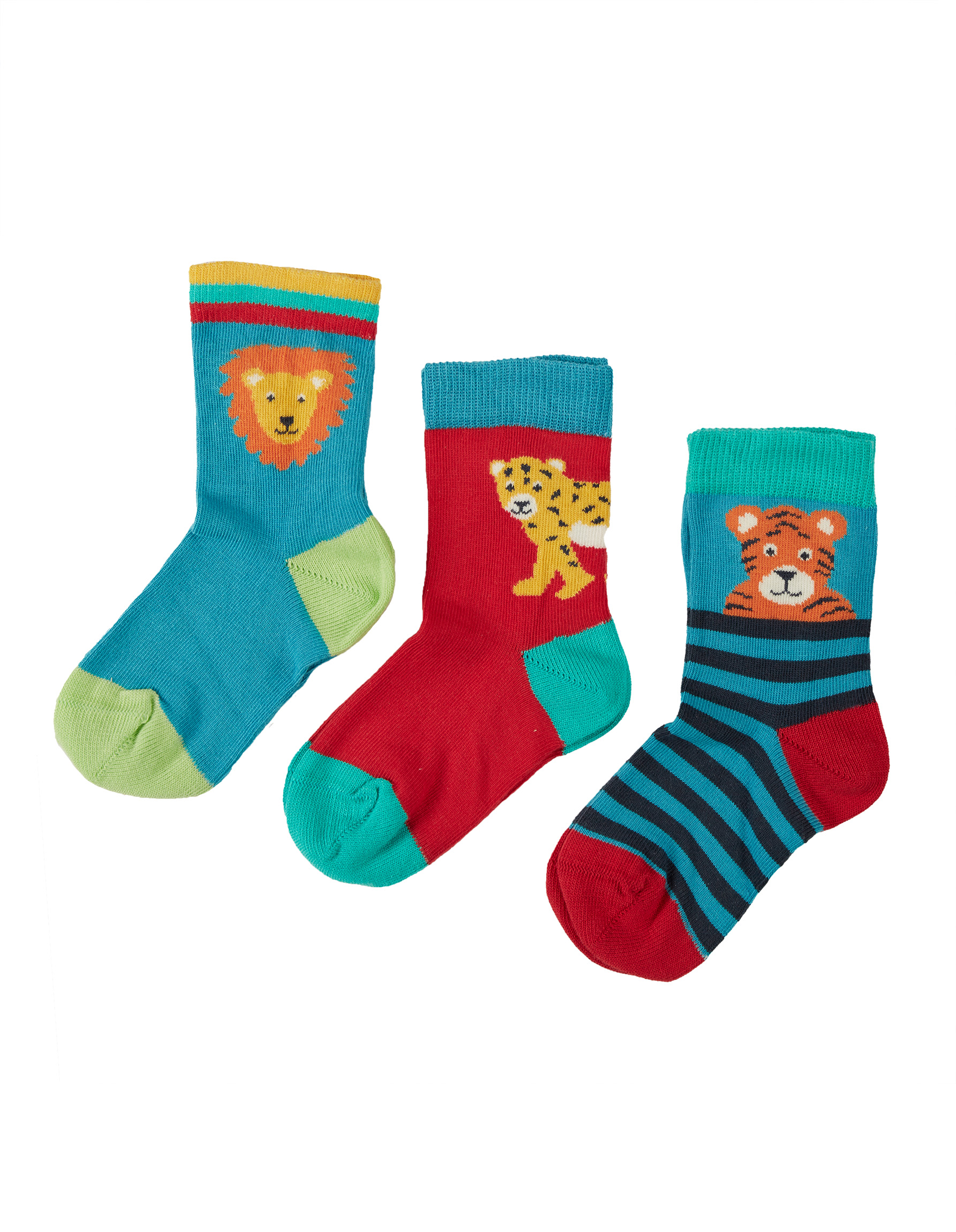 Frugi Little Socks, Big Cat Multipack