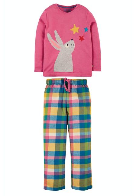 Frugi Caden Check PJs Foxglove Bunny