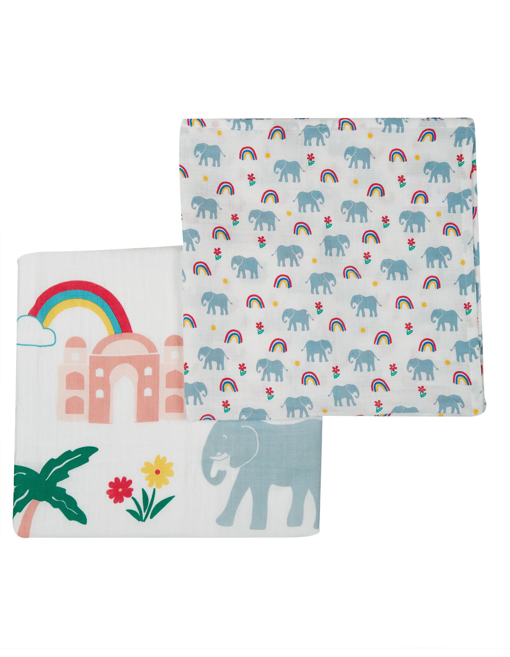Frugi Lovely 2 Pack Muslin, Elephant