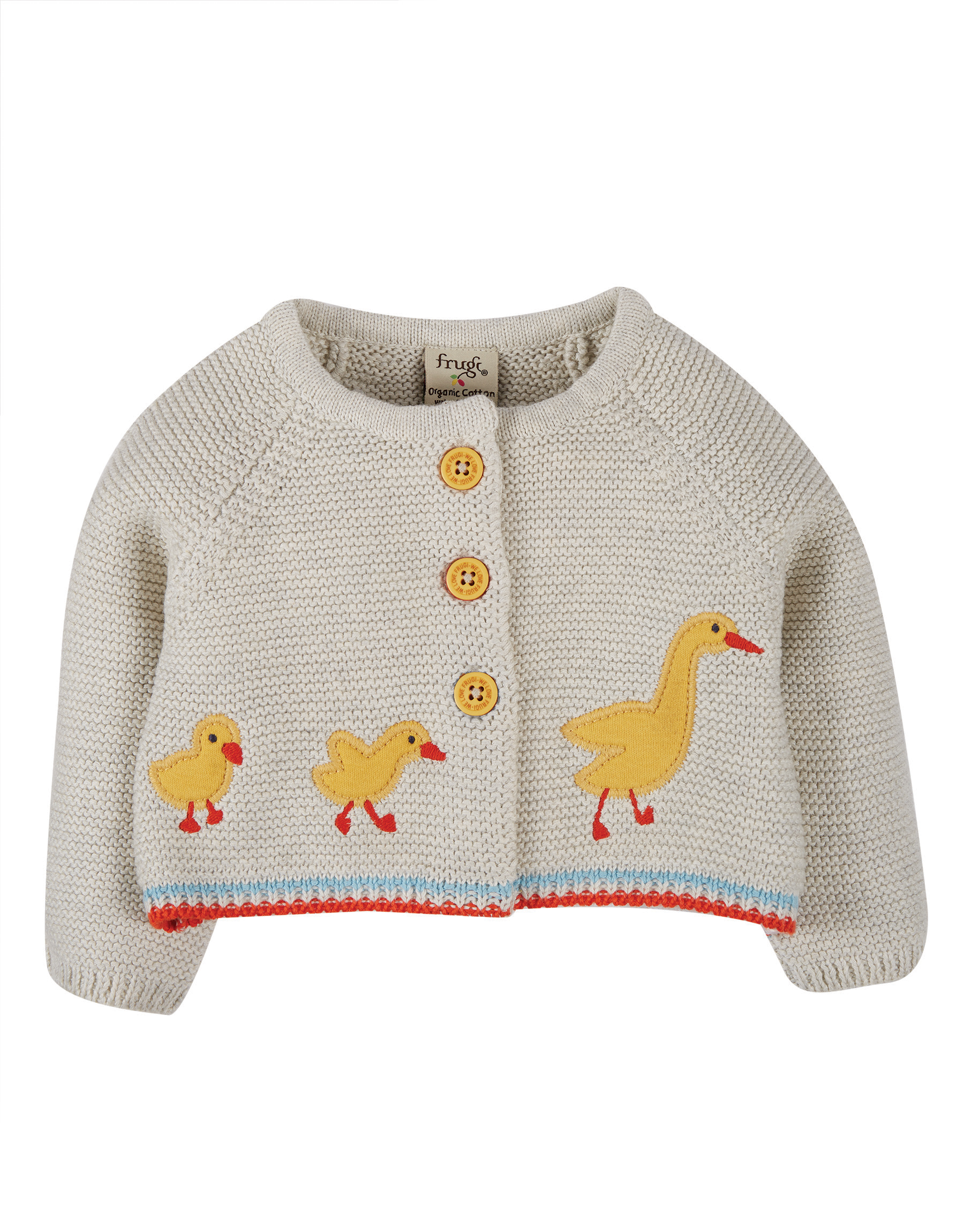 Frugi Cute As A Button Cardi, Grey Marl Duck
