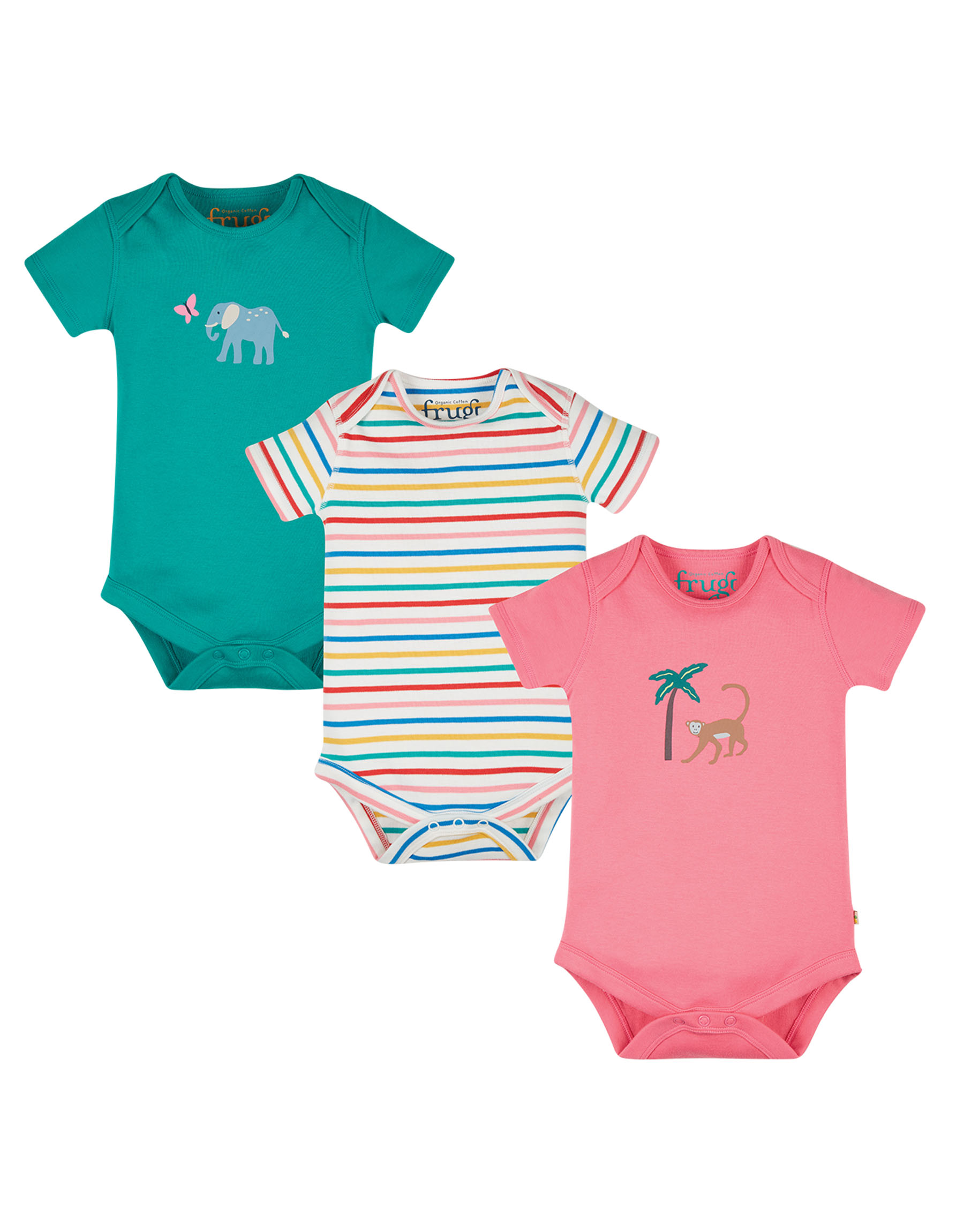 Frugi Super Special 3 Pack Body, Animal