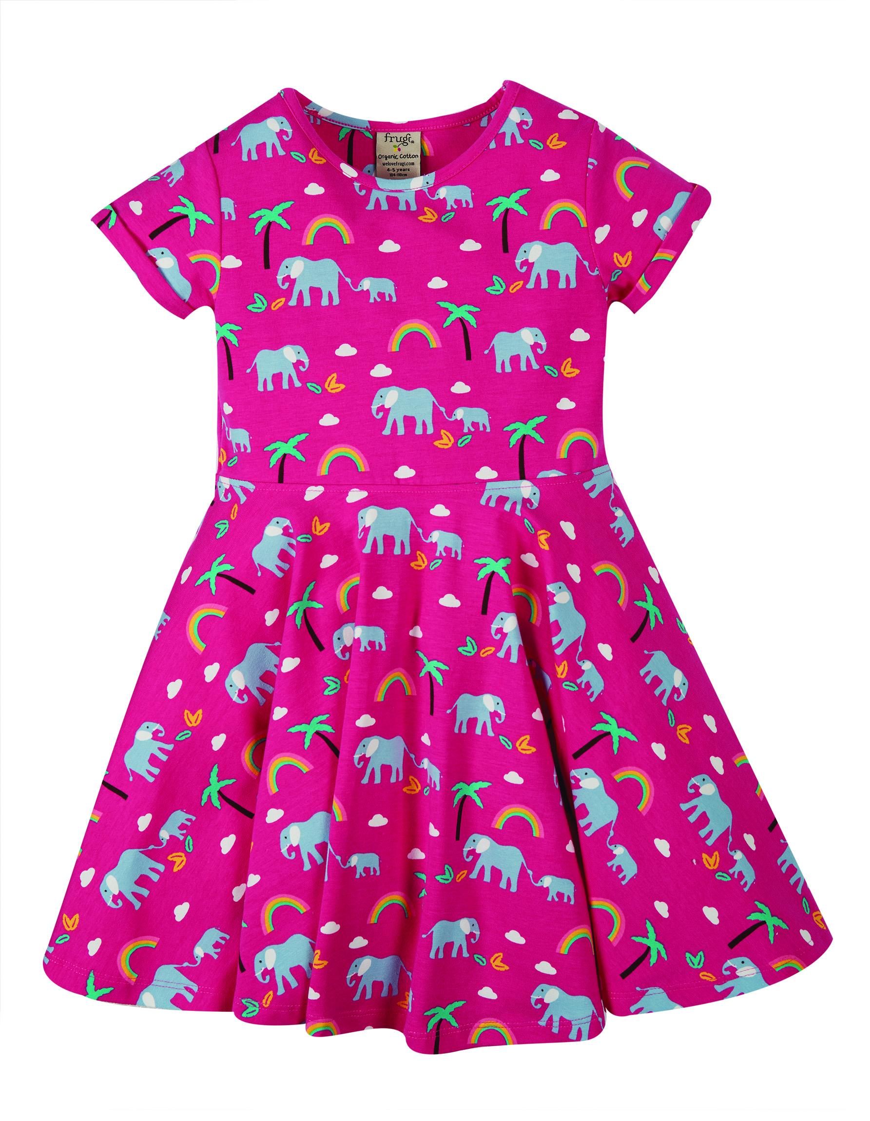 Frugi Spring Skater Dress, Deep Pink Rainbow Walks