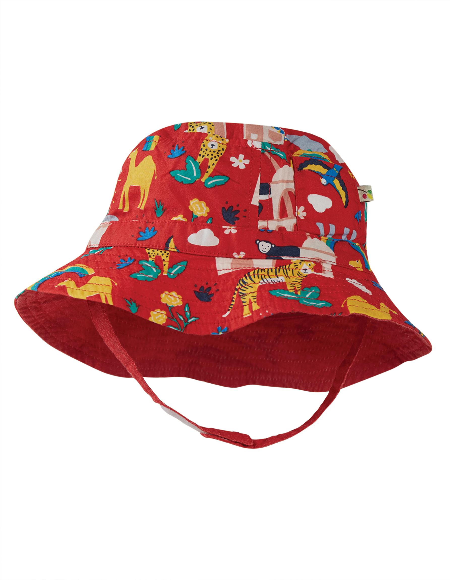 Frugi Little Dexter Reversible Hat, True Red India