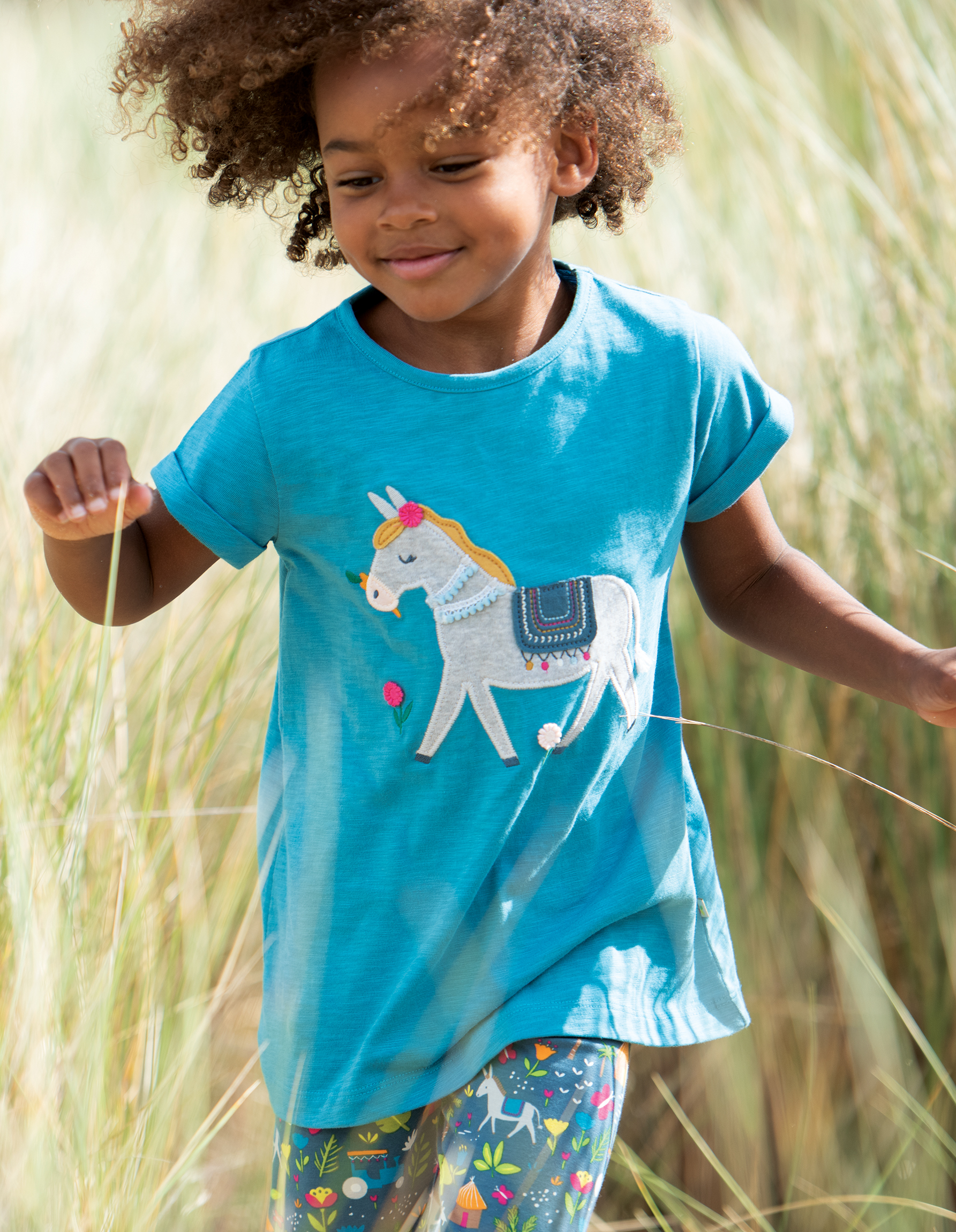 Frugi Ariella Applique Top, Sea Blue/Donkey