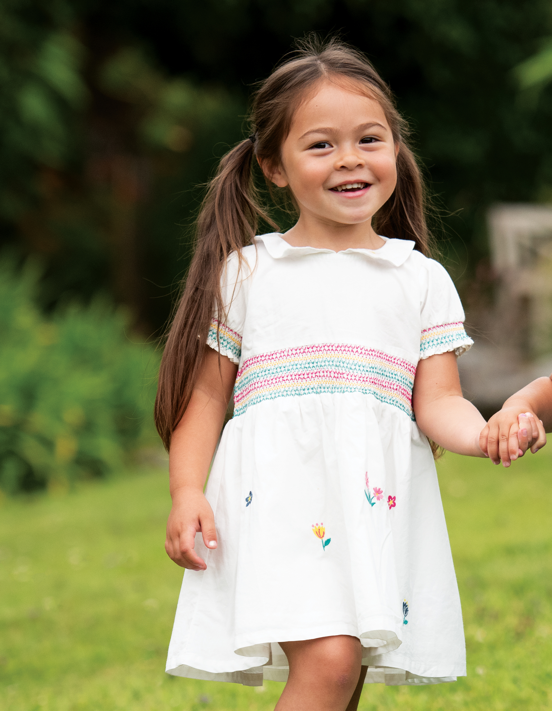 Frugi Posy Embroidered Dress, Soft White/Flowers
