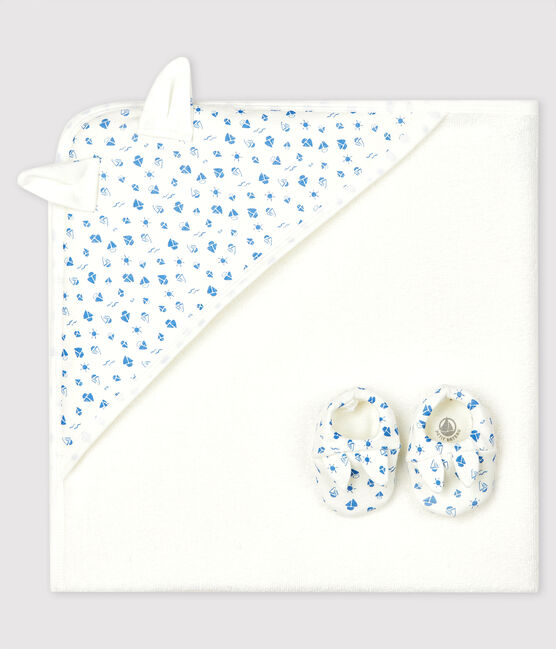 Petit Bateau Babies Square Bath Towel and Bootees Set in Terry and Organic Cotton