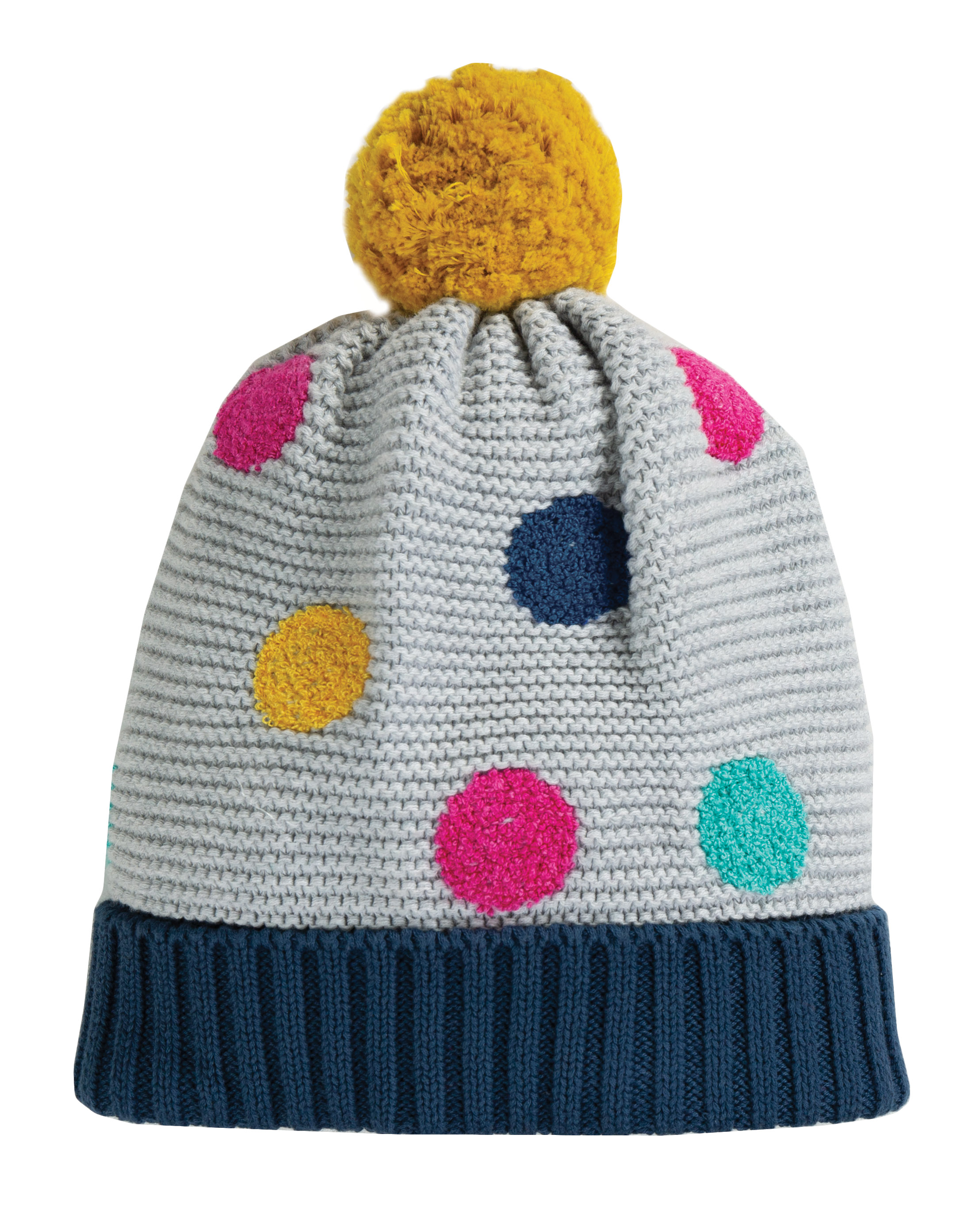 Frugi Evie Embroidered Bobble Hat Grey Marl Multi Spot
