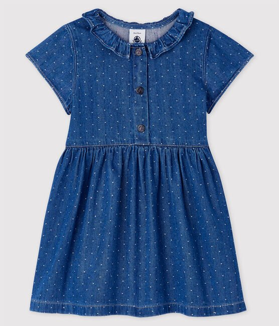 Petit Bateau Light Denim Spotted Dress