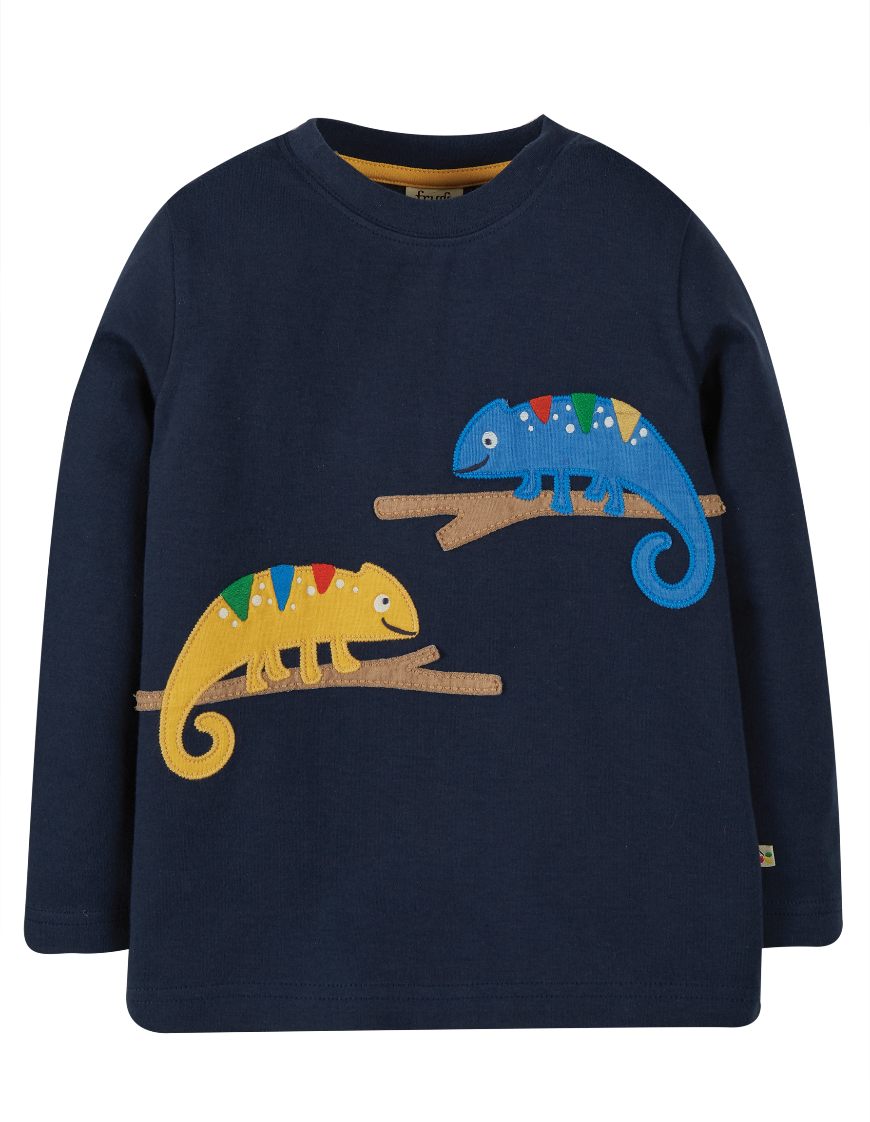 Frugi Adventure Applique Top, Indigo/Chameleon