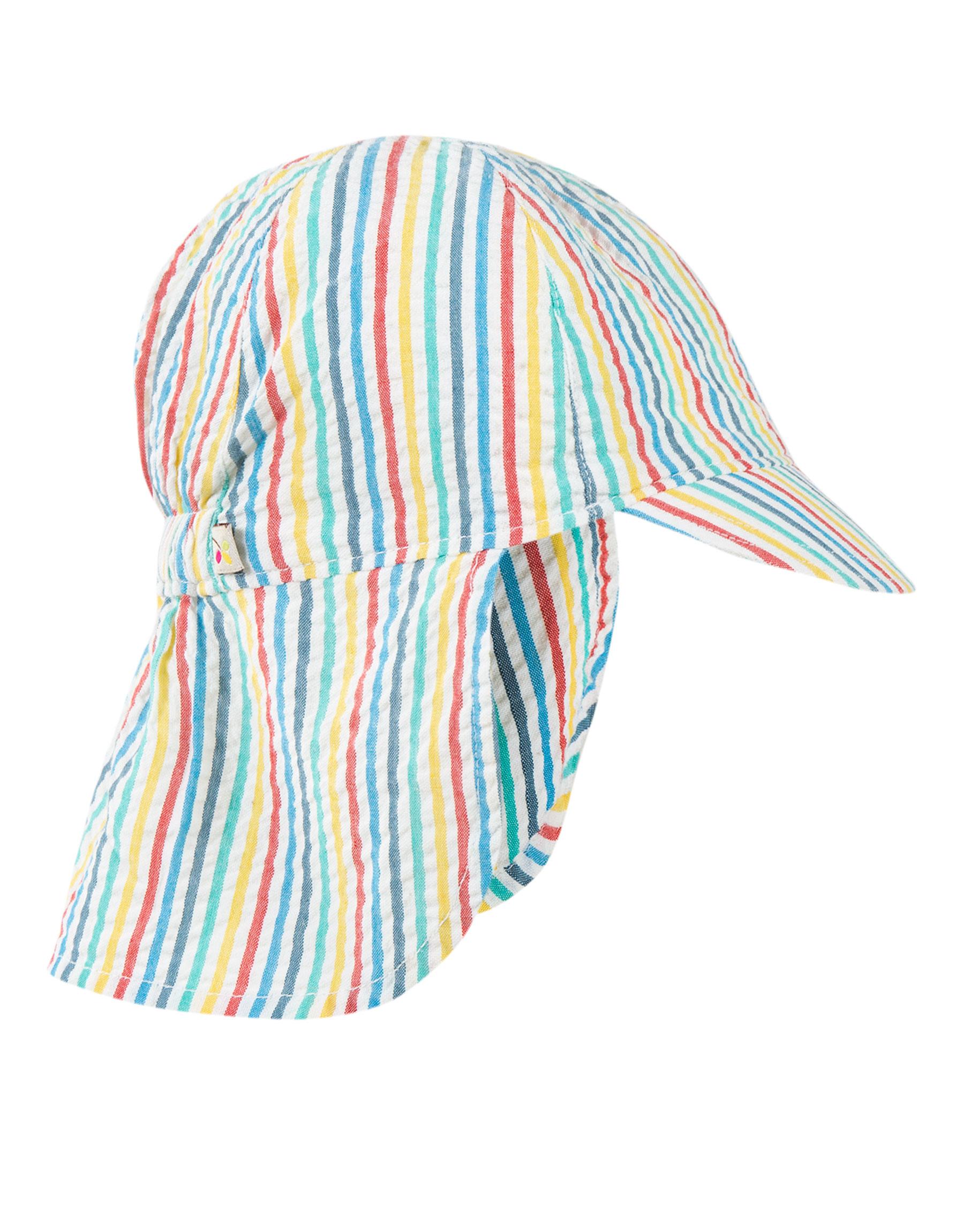 Frugi Seersucker Legionnaires Hat, Multi Seersucker Stripe