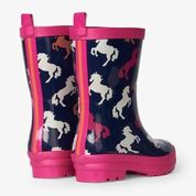 Hatley Playful Horses Shiny Welly Boots