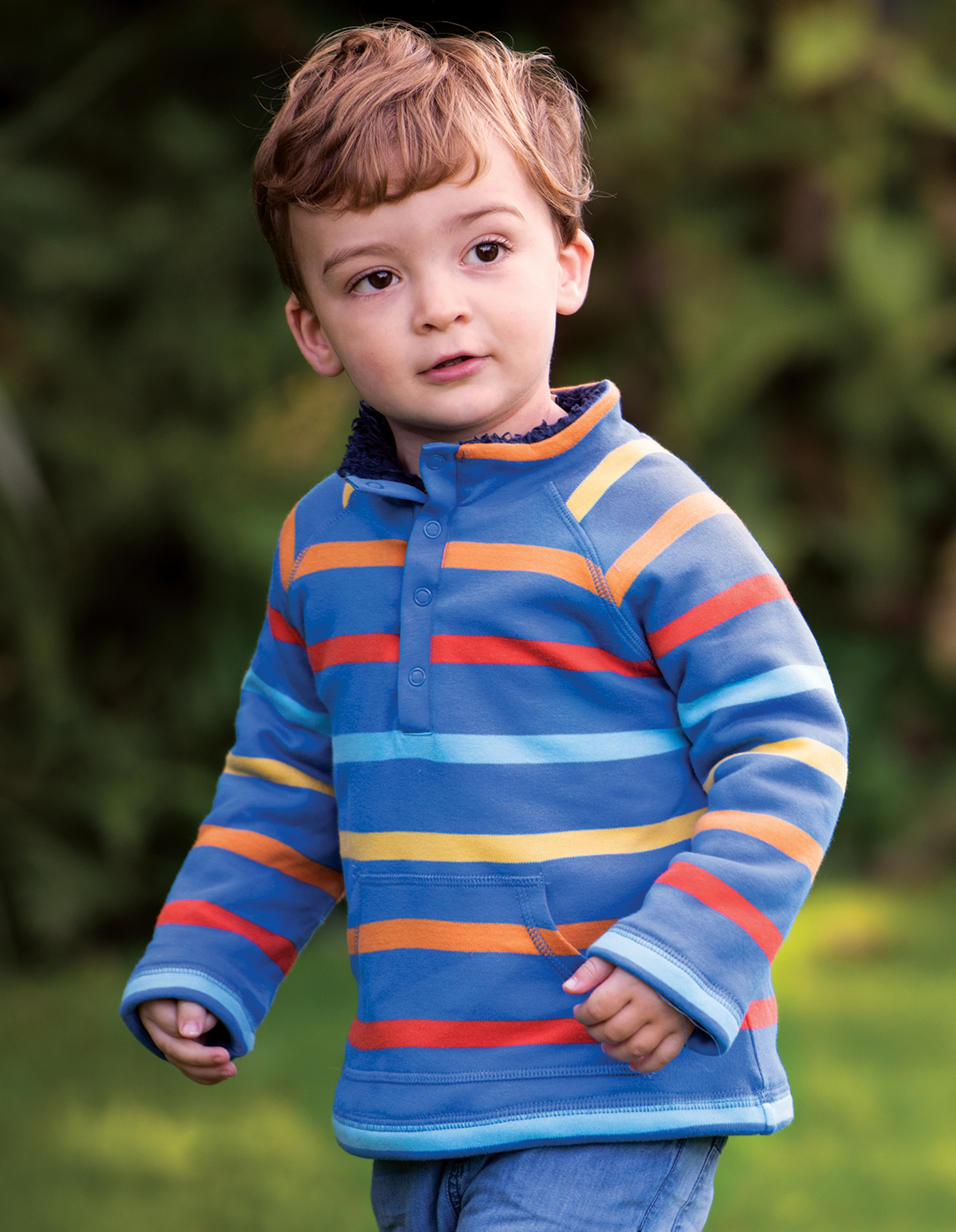 Frugi Snuggle Fleece, Cobalt Multistripe