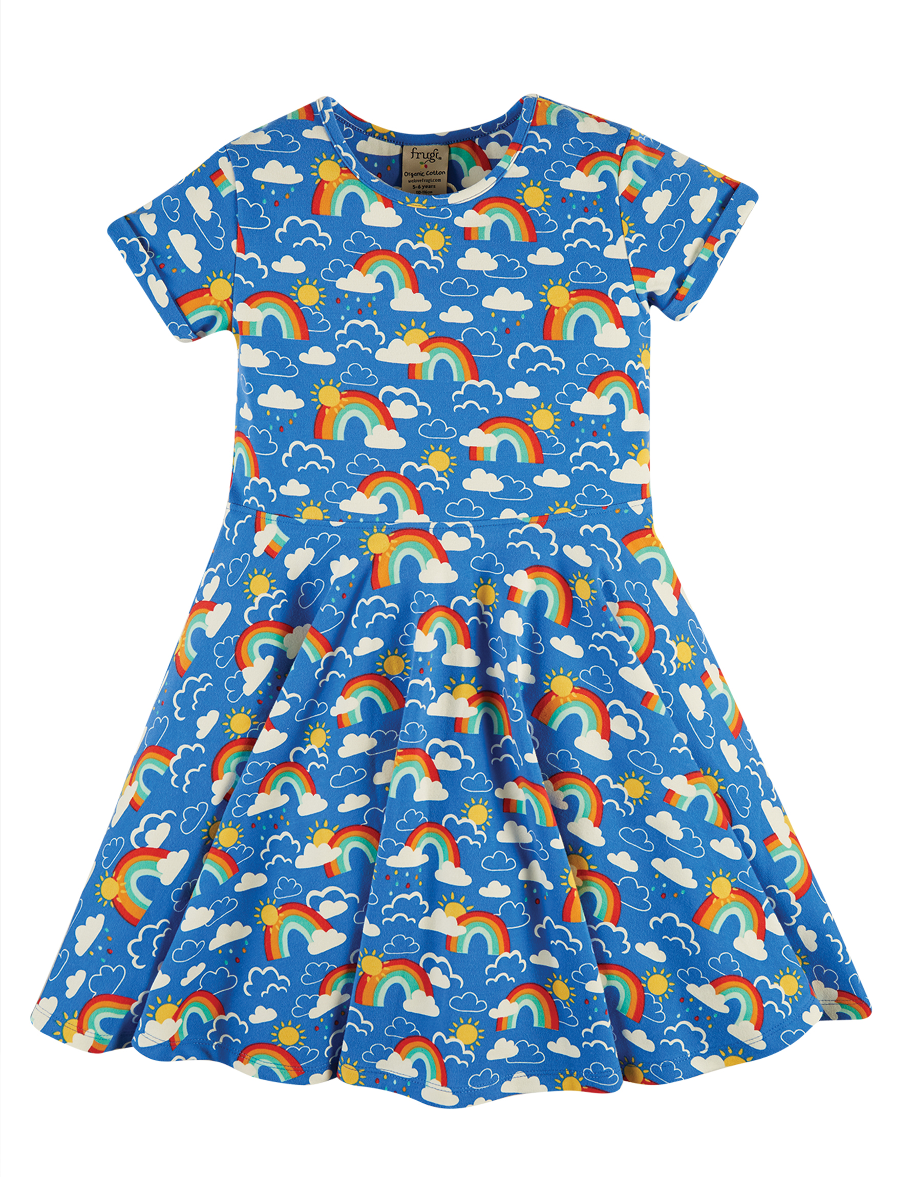 Frugi Spring Skater Dress, Rainbow Skies
