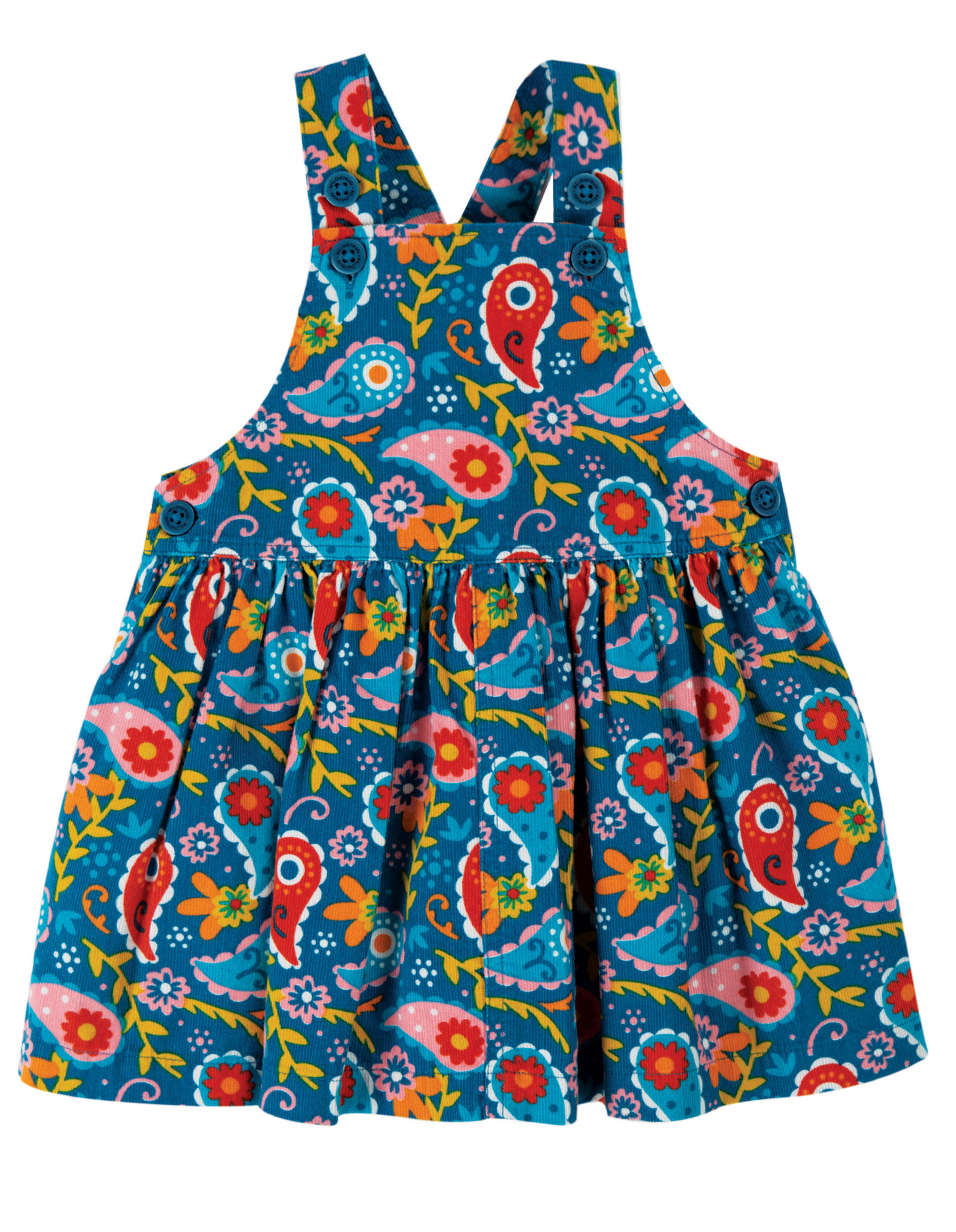 Frugi Pippin Cord Pinafore Pixie Paisley