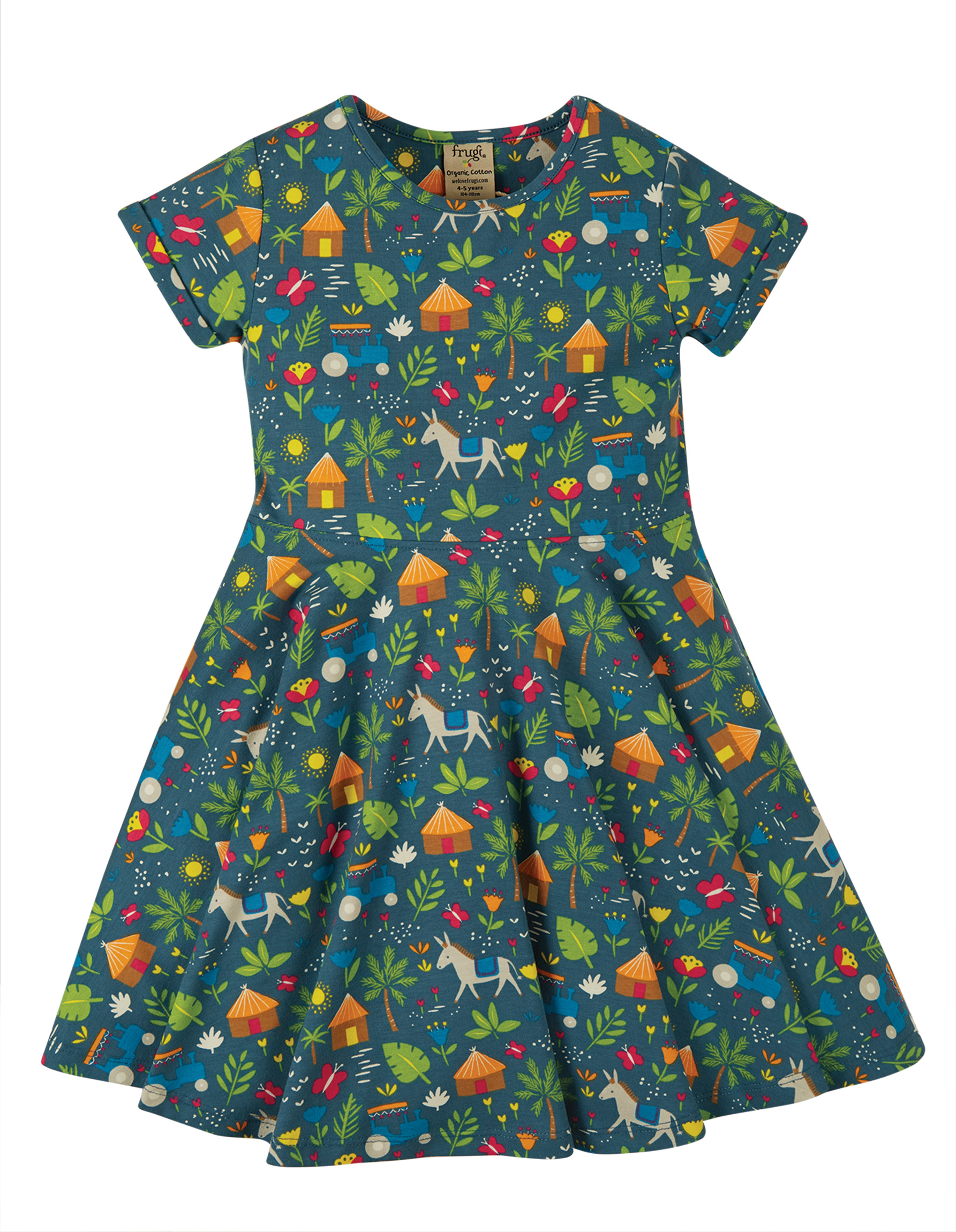 Frugi Spring Skater Dress, Indigo Farm