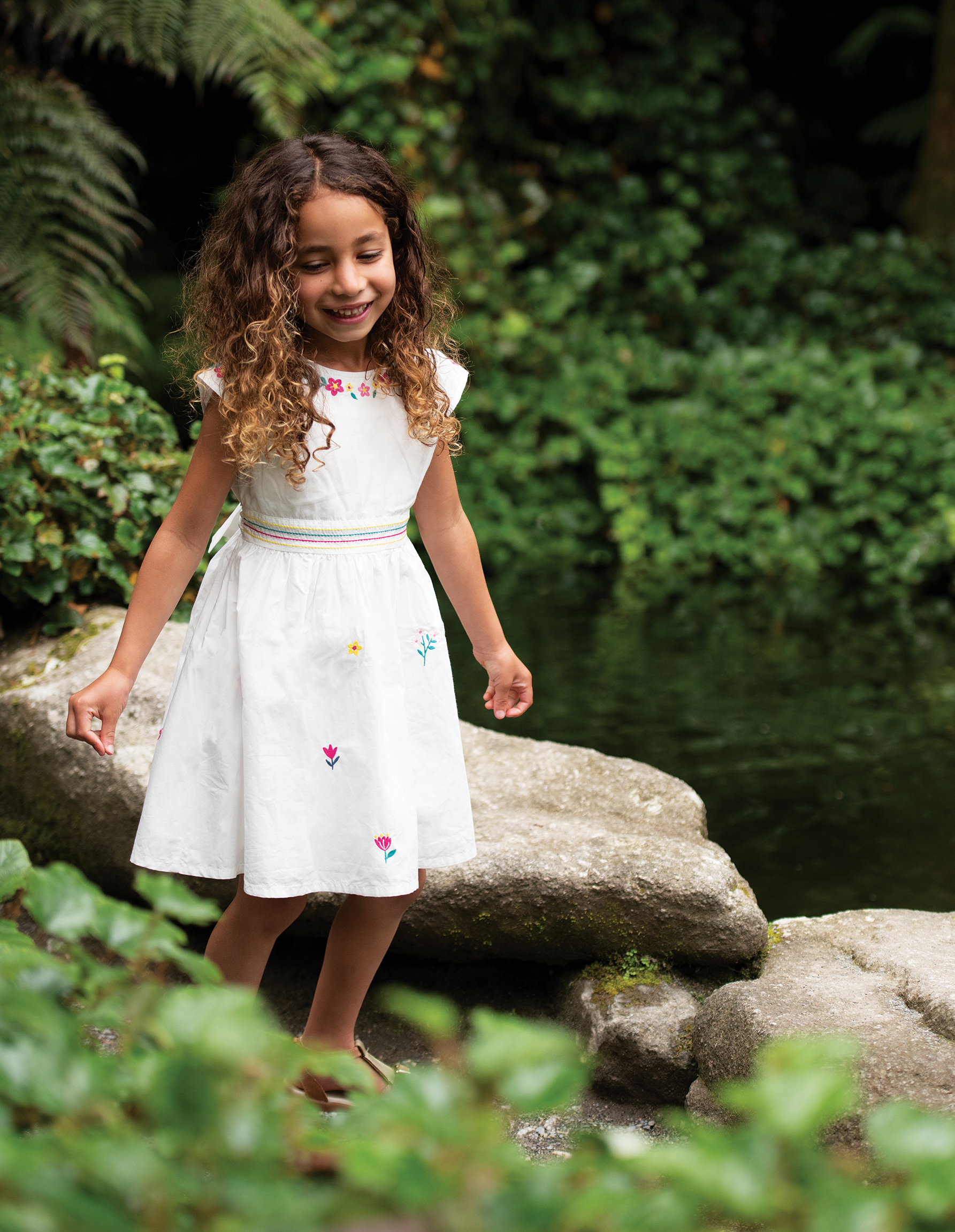 Frugi Rosy Embroidered Dress, Soft White/Flowers