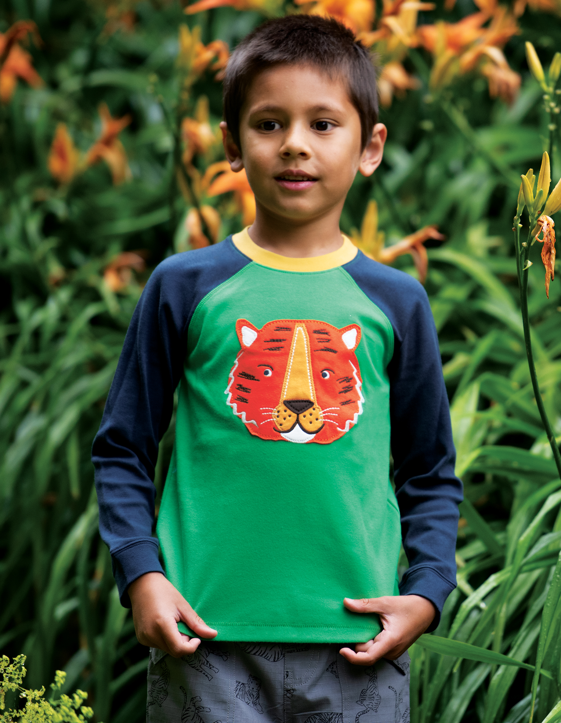 Frugi Jake Applique Top, Glen Green Tiger