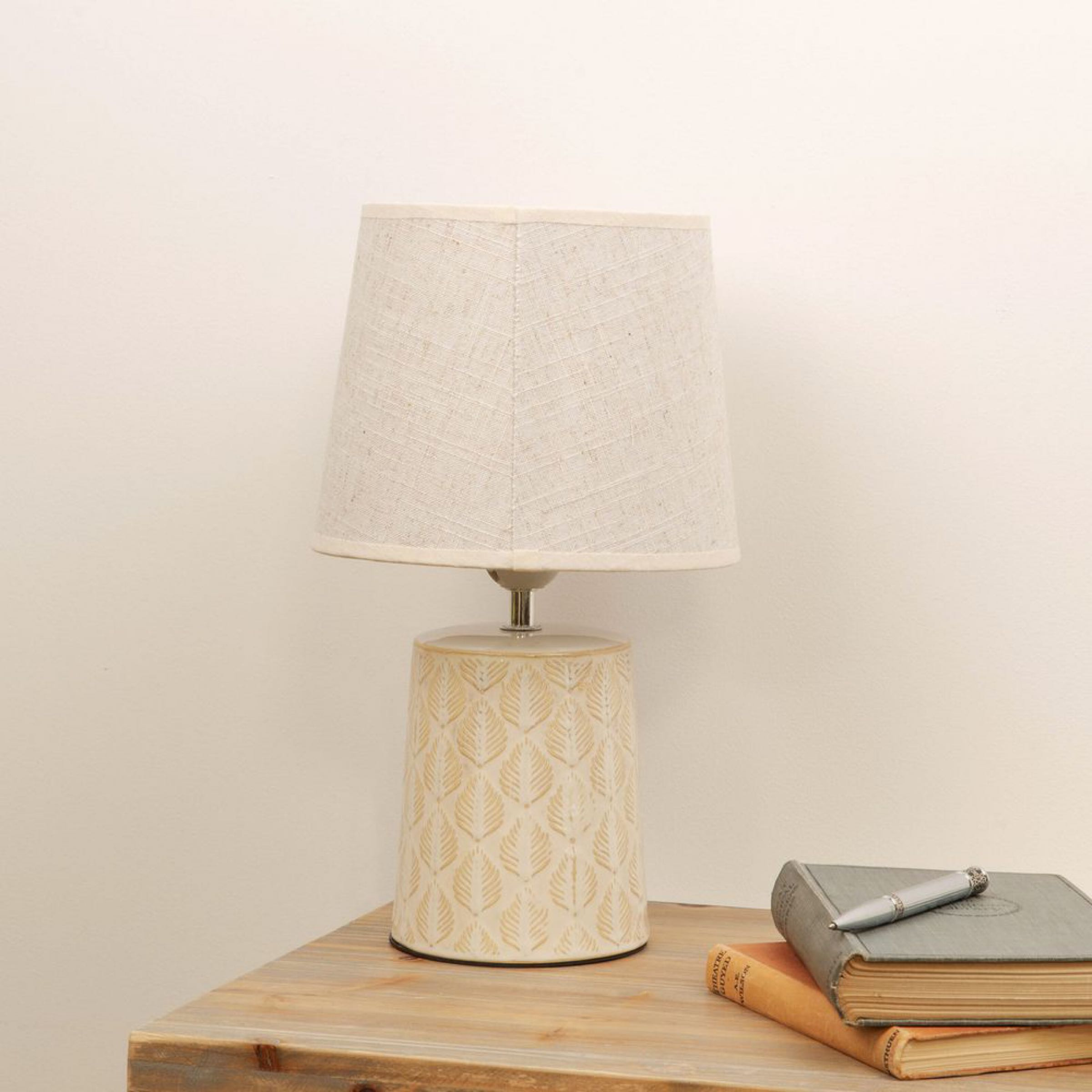Leaf Print Table Lamp with Beige Linen Shade