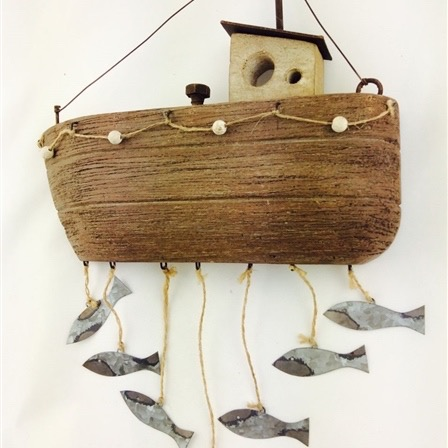 Fishing Boat with Fish Wall Art