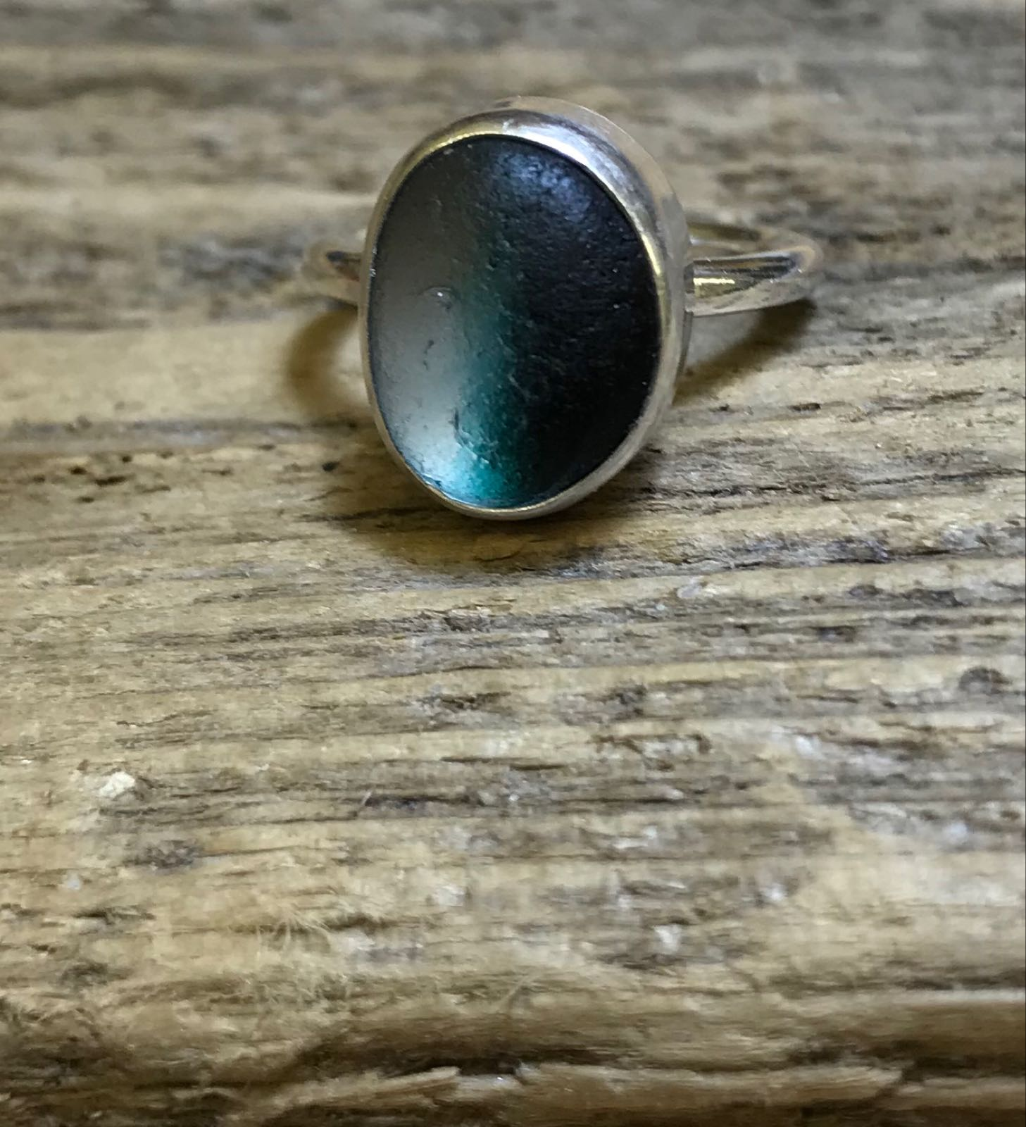 RE201 Eco-silver Sea Glass Ring Seaham Green and White UK J