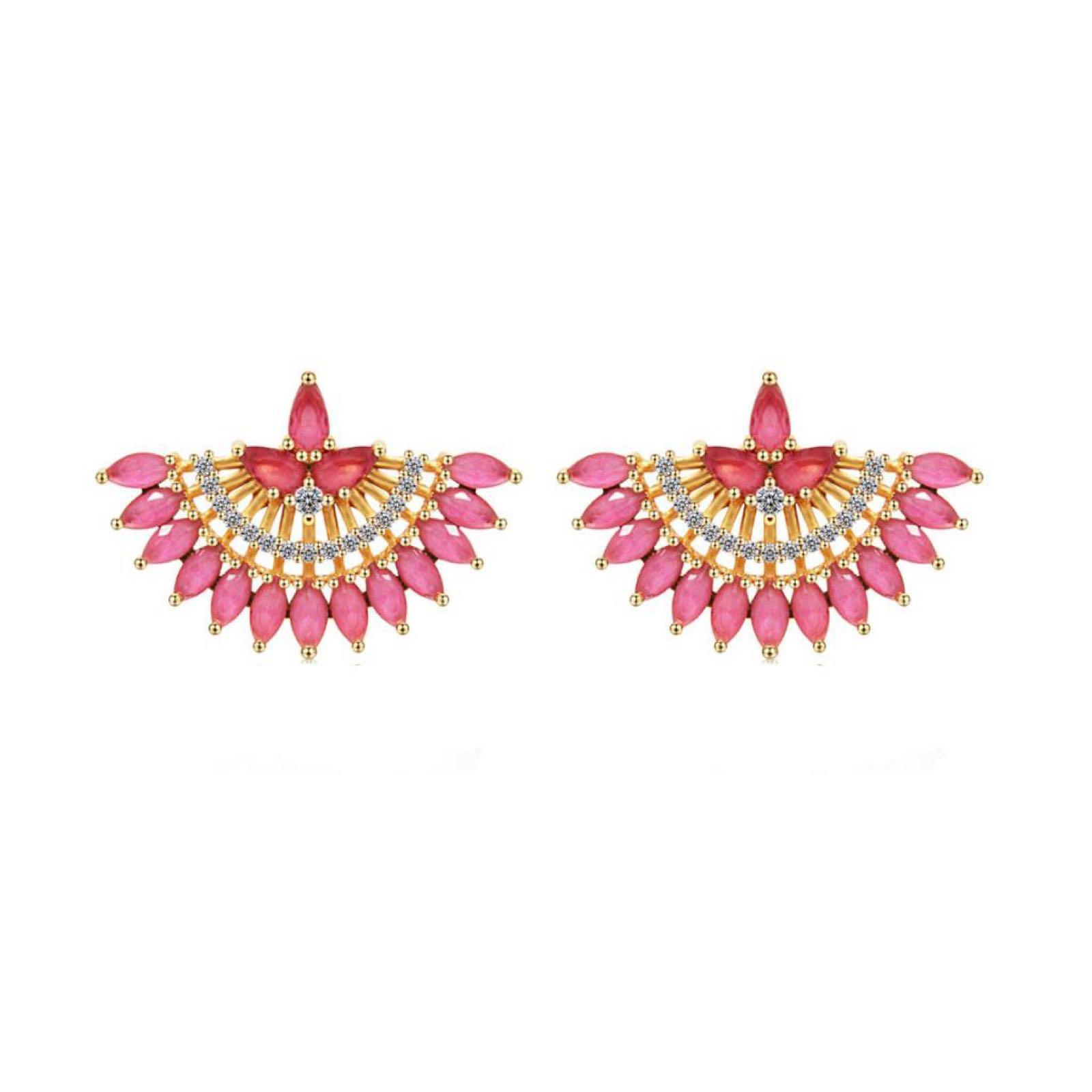 Last True Angel Gold plated Cubic Zirconia Crystal fan Pink Earrings