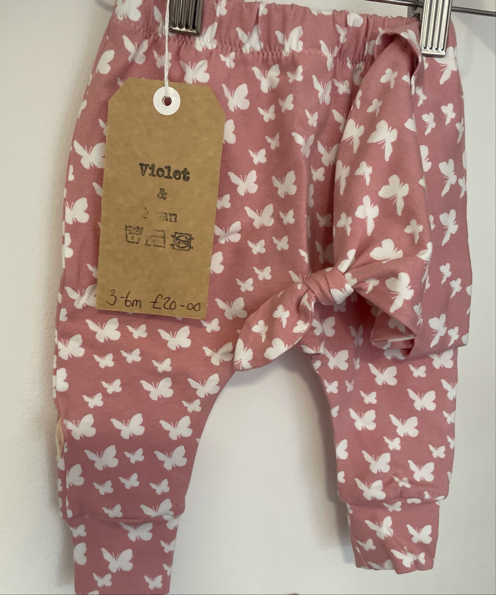 Violet and Joan Handmade Organic Clothing -  pink butterfly