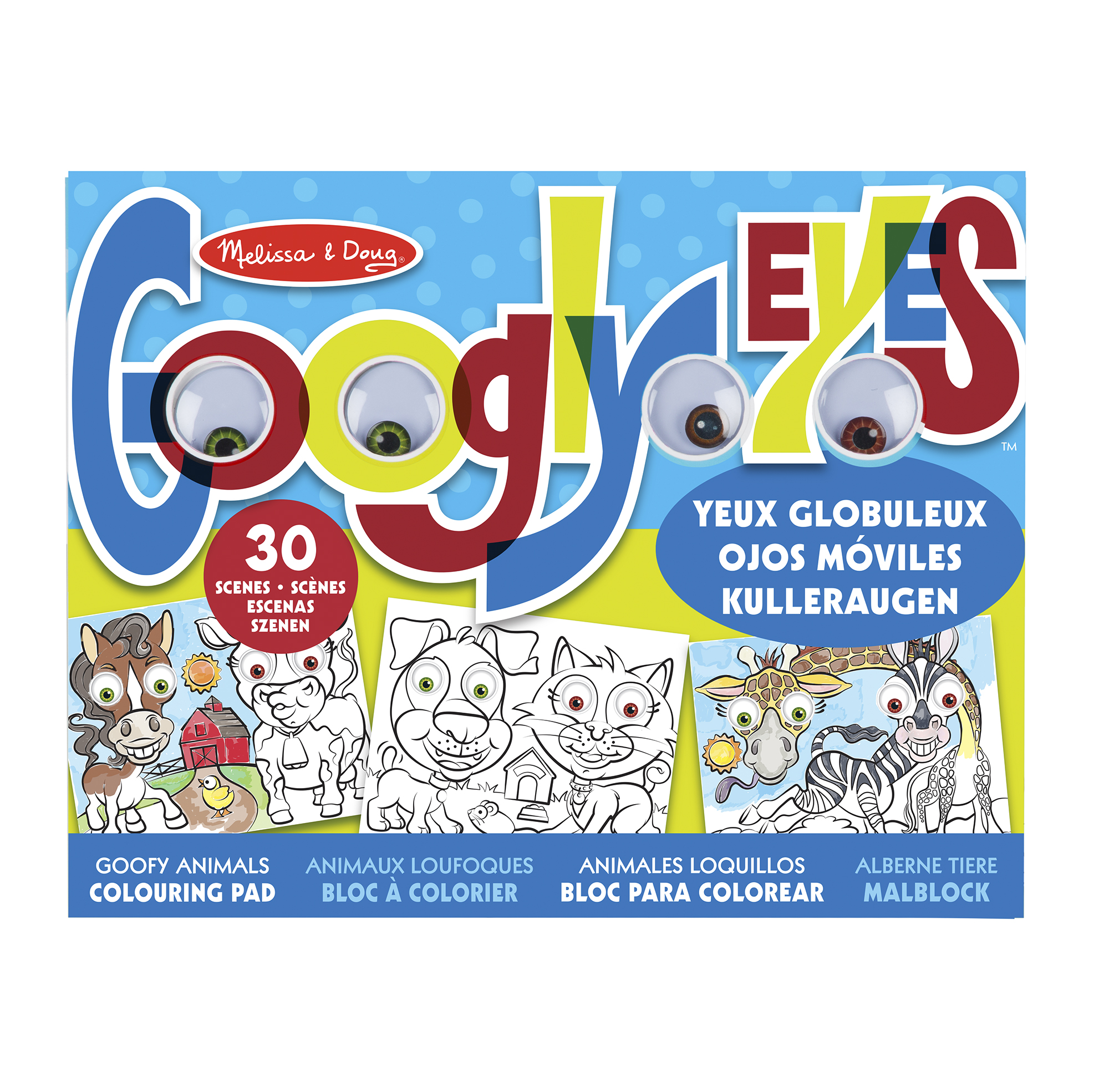 Googly Eyes Colouring Pad - Goofy Animals
