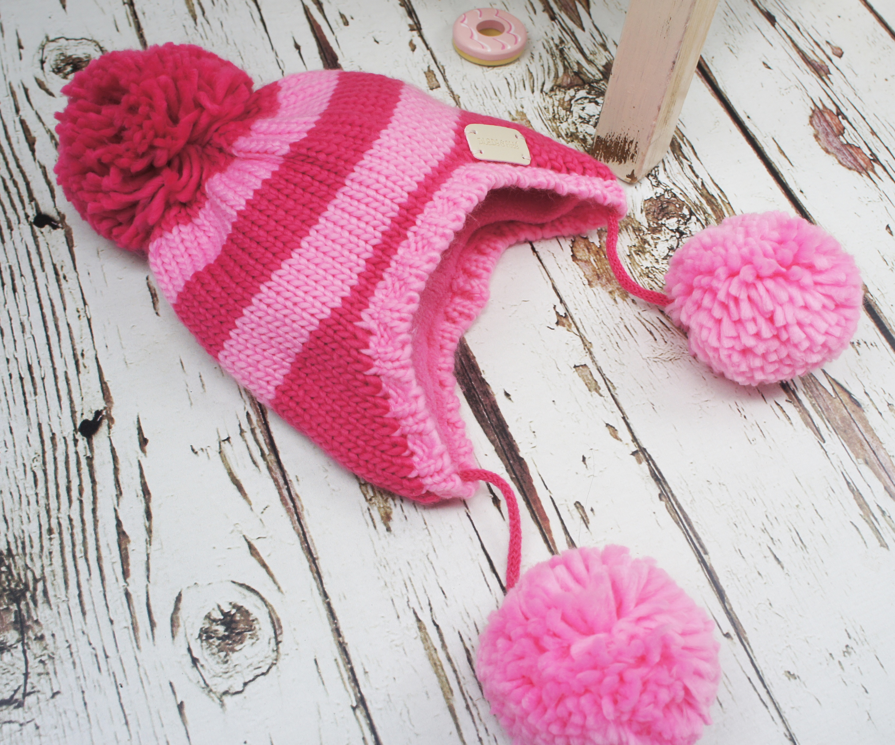 Blade & Rose Pink Striped Bobble Hat