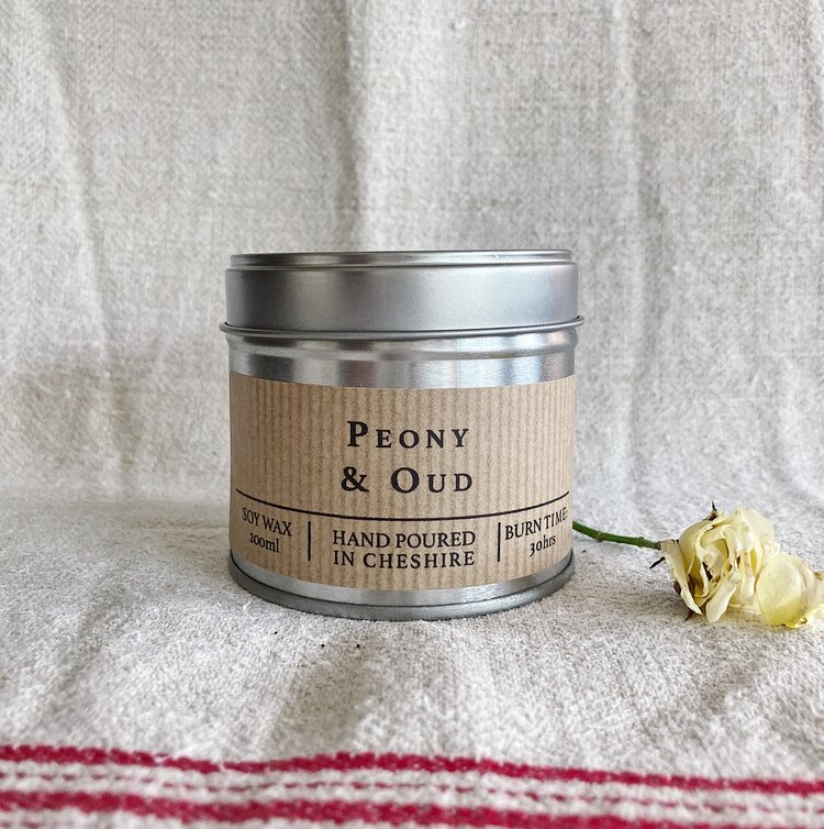 Peony and Oud - Hand Poured Soy Wax Candle Tin
