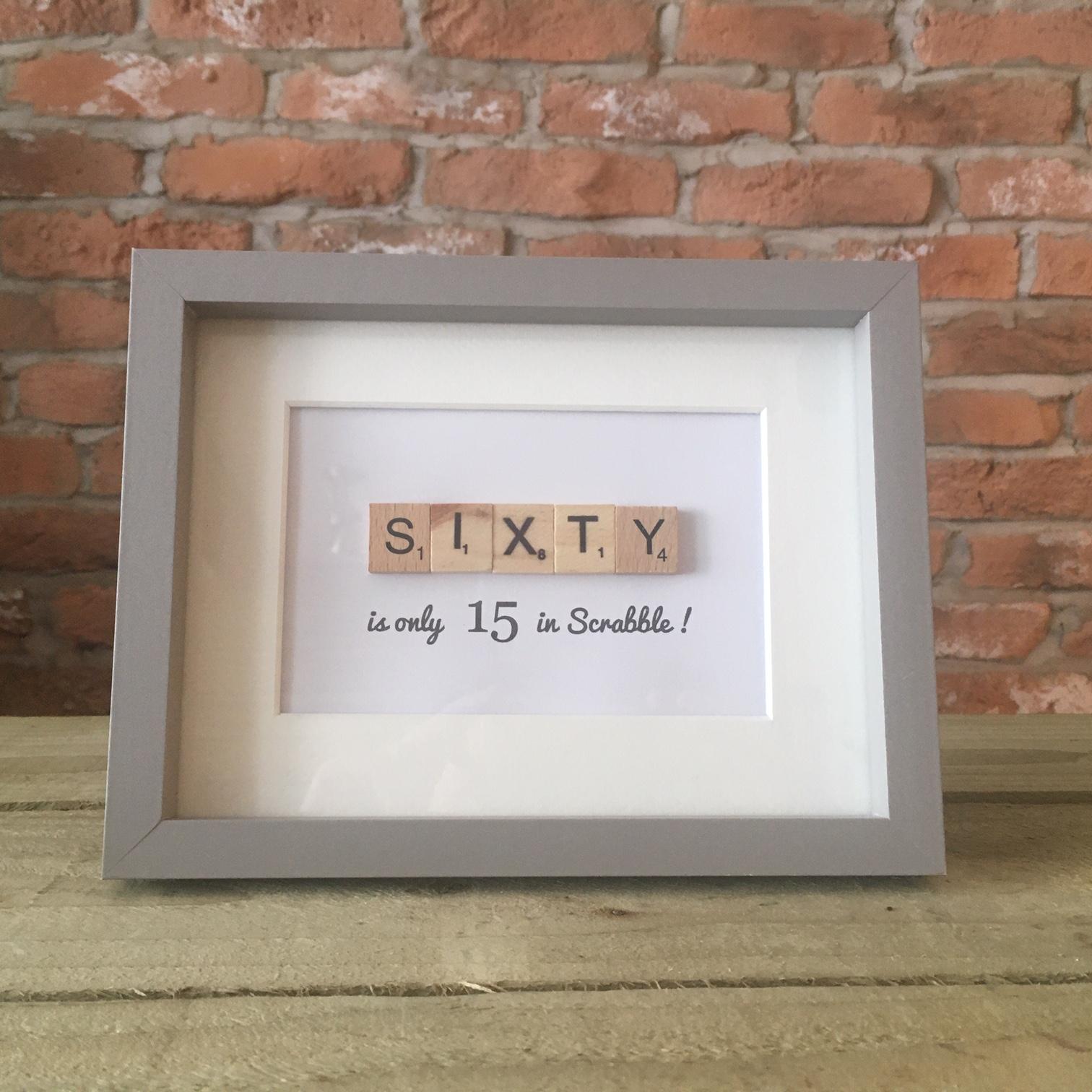 Scrabble Art - Sixty Grey Frame