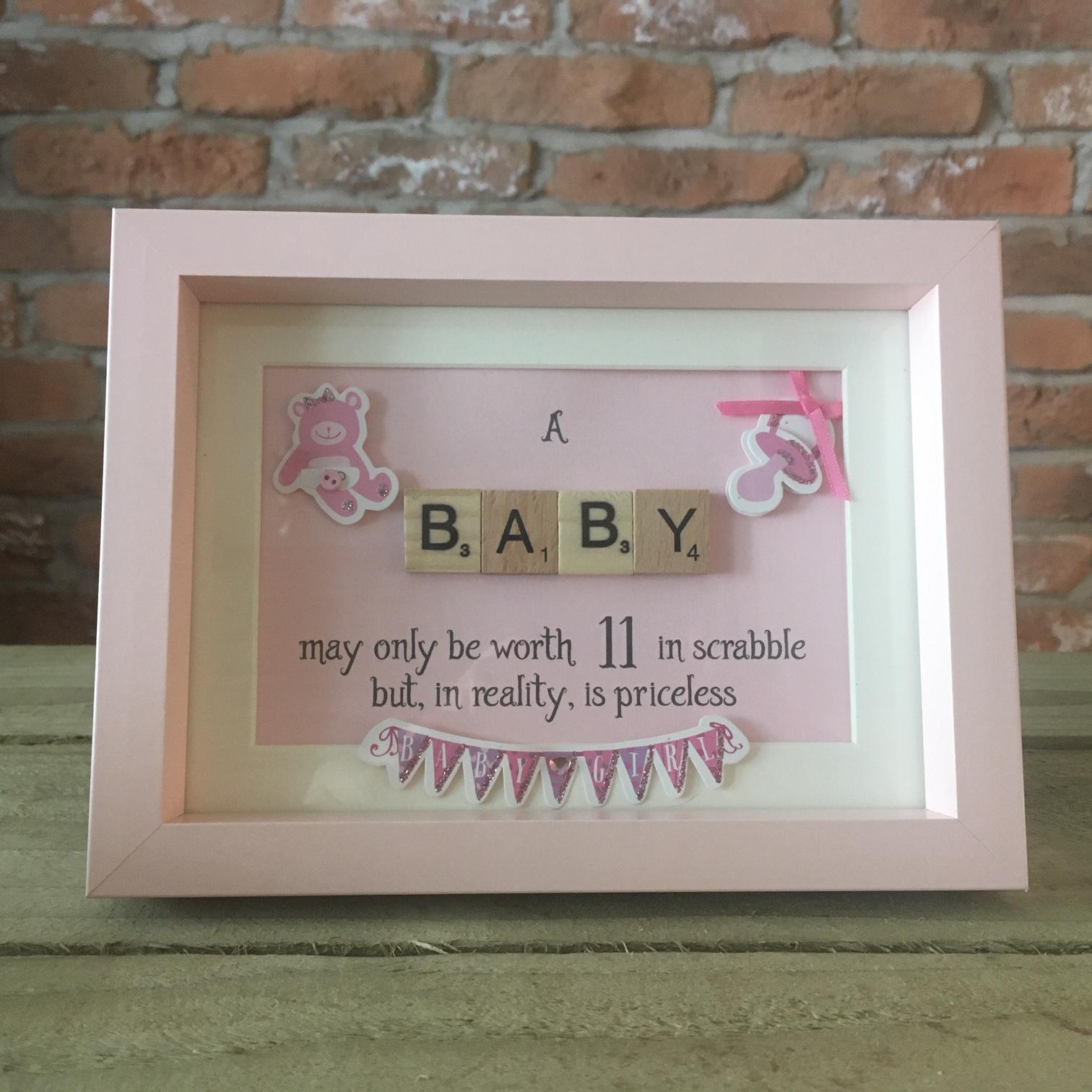 Scrabble Art - Baby Pink